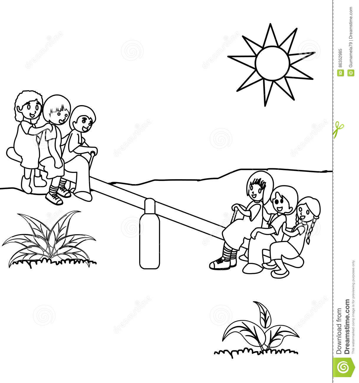 playground coloring page stock illustration image 86352985