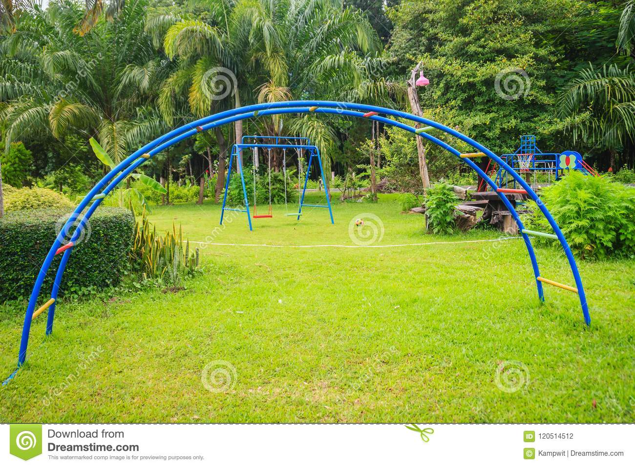 Playground Equipment In The Backyard For Kids With Soccer Goal Net