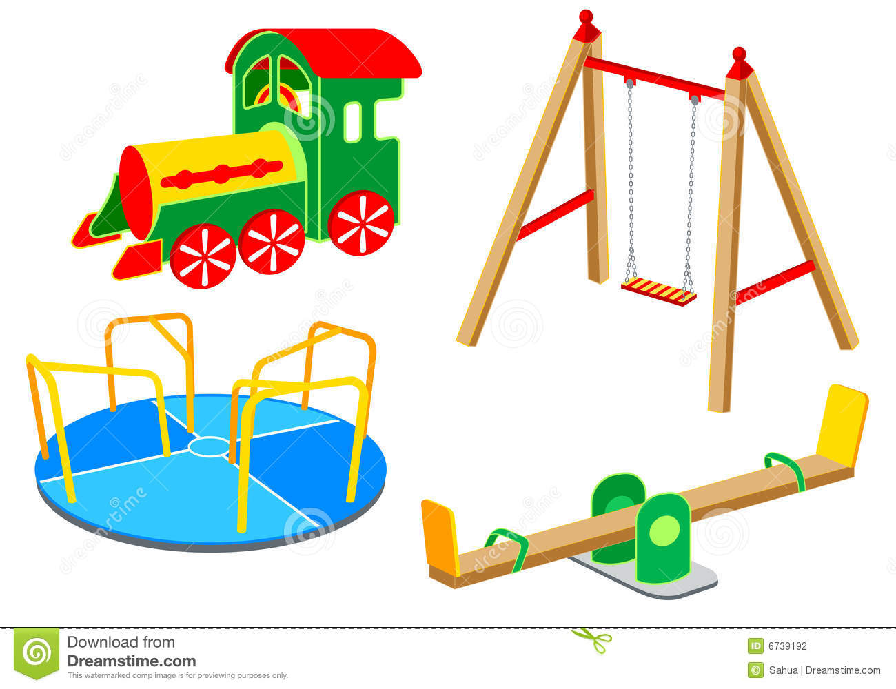 Playground equipment, 1: Carousel, Swing, See-saw, Wooden Train.