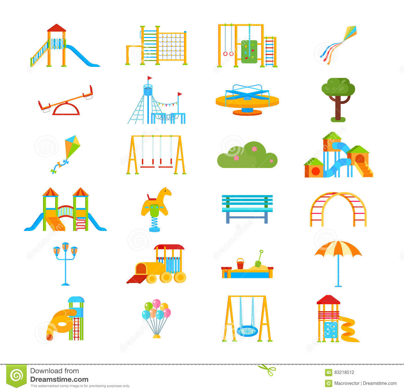 Playground flat elements set stock vector illustration for Seesaw plans designs