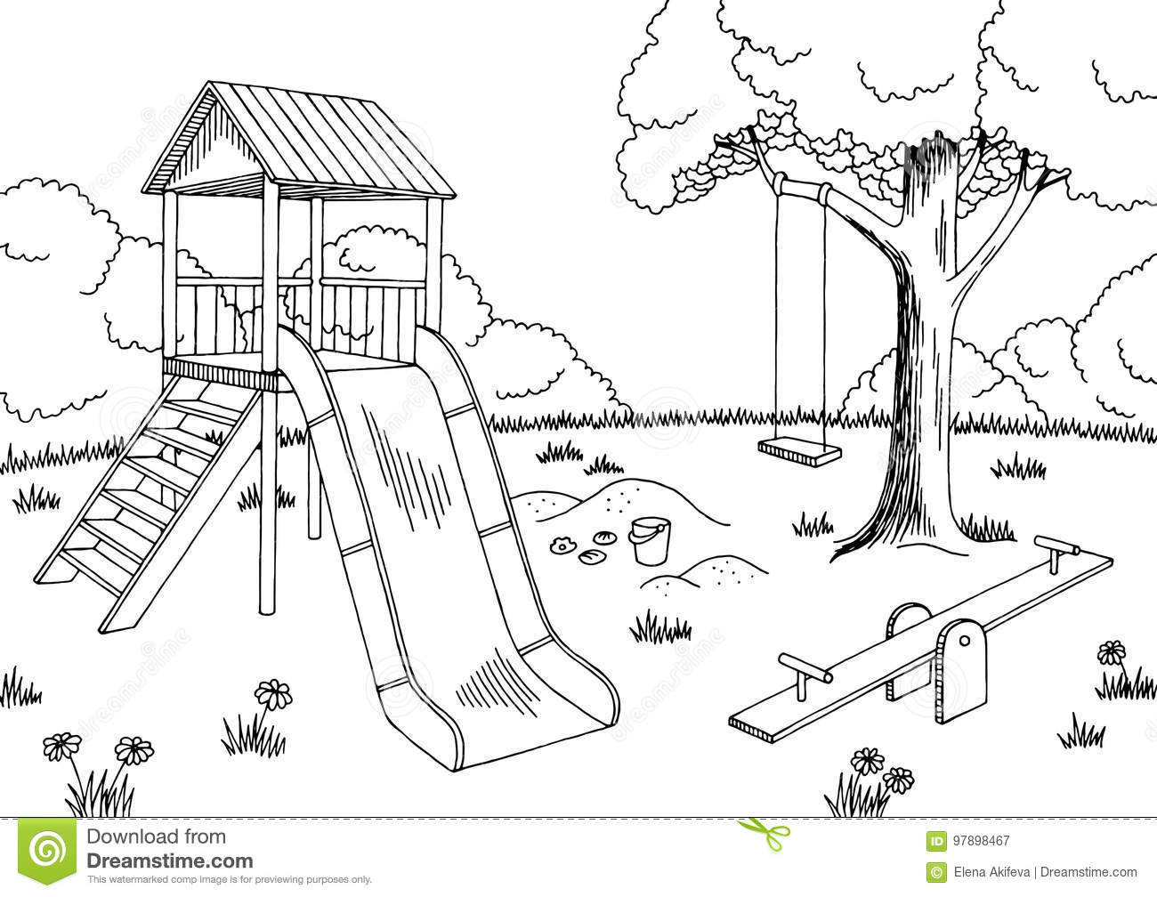 playground graphic black white landscape sketch illustration stock