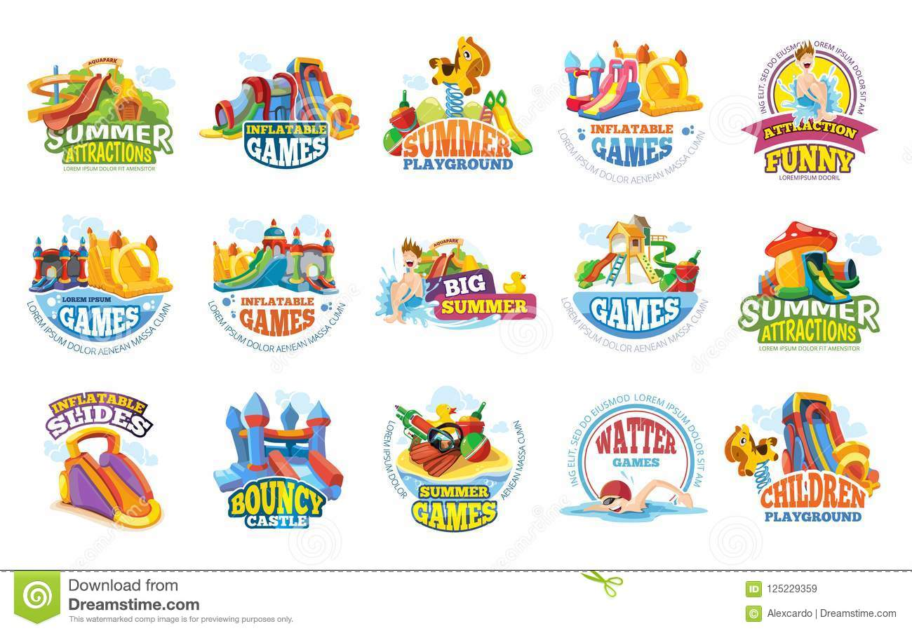 Playground Labels Aqua Water Park Summer Entertainments Stock