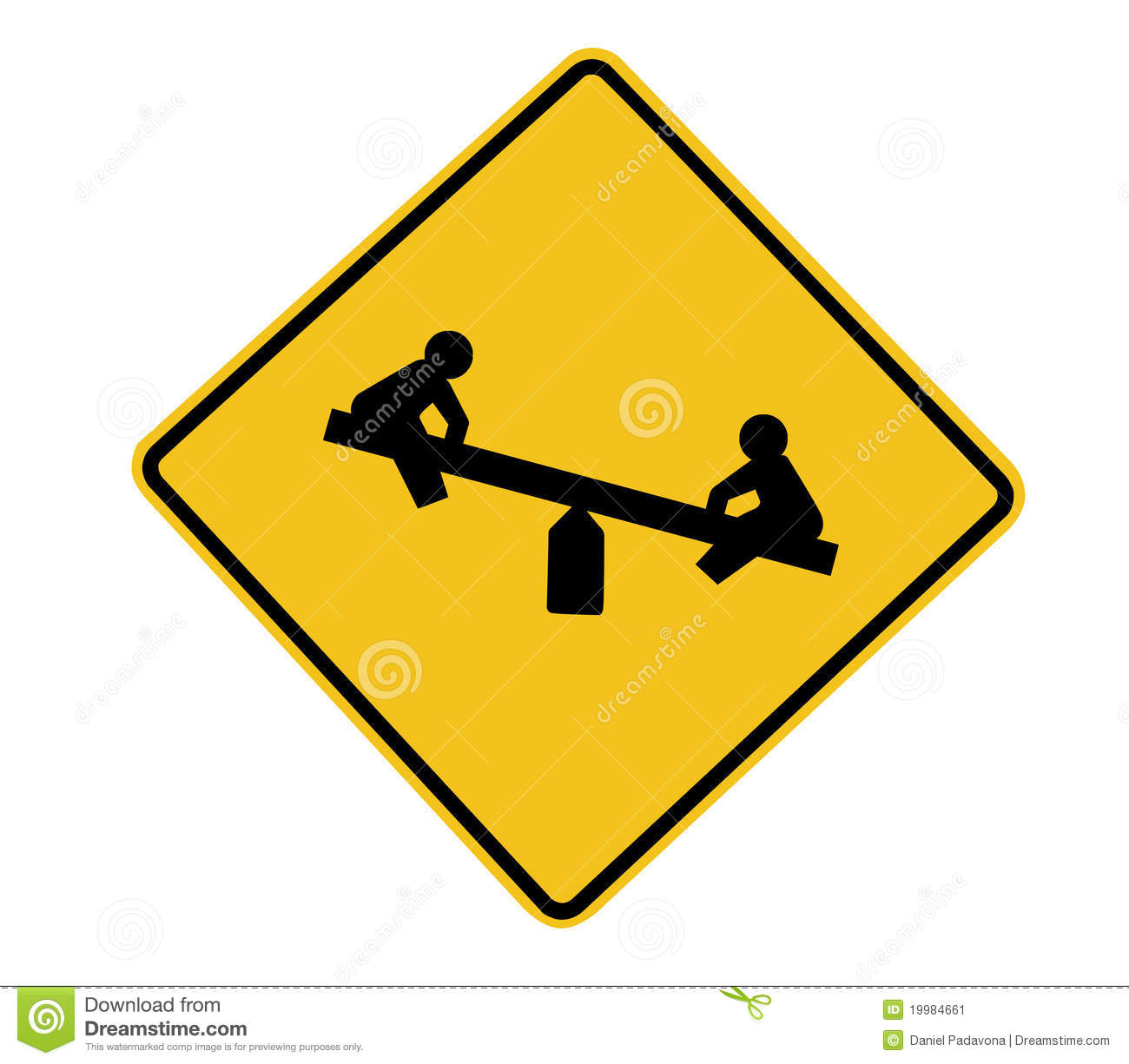 Playground Road Sign stock image. Image of path, caution ...