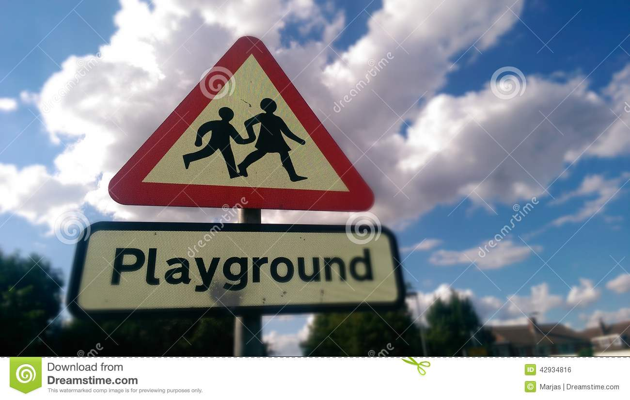 Playground Road Sign Stock Photo - Image: 42934816