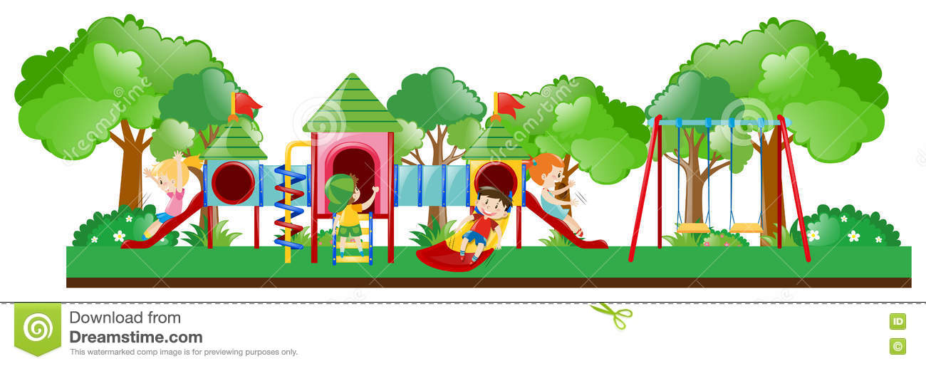 playground scene with kids playing stock illustration illustration rh dreamstime com playground clip art free printable Free Recess Clip Art