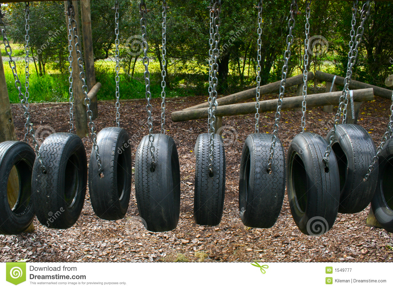 Image result for playground with tire bridge