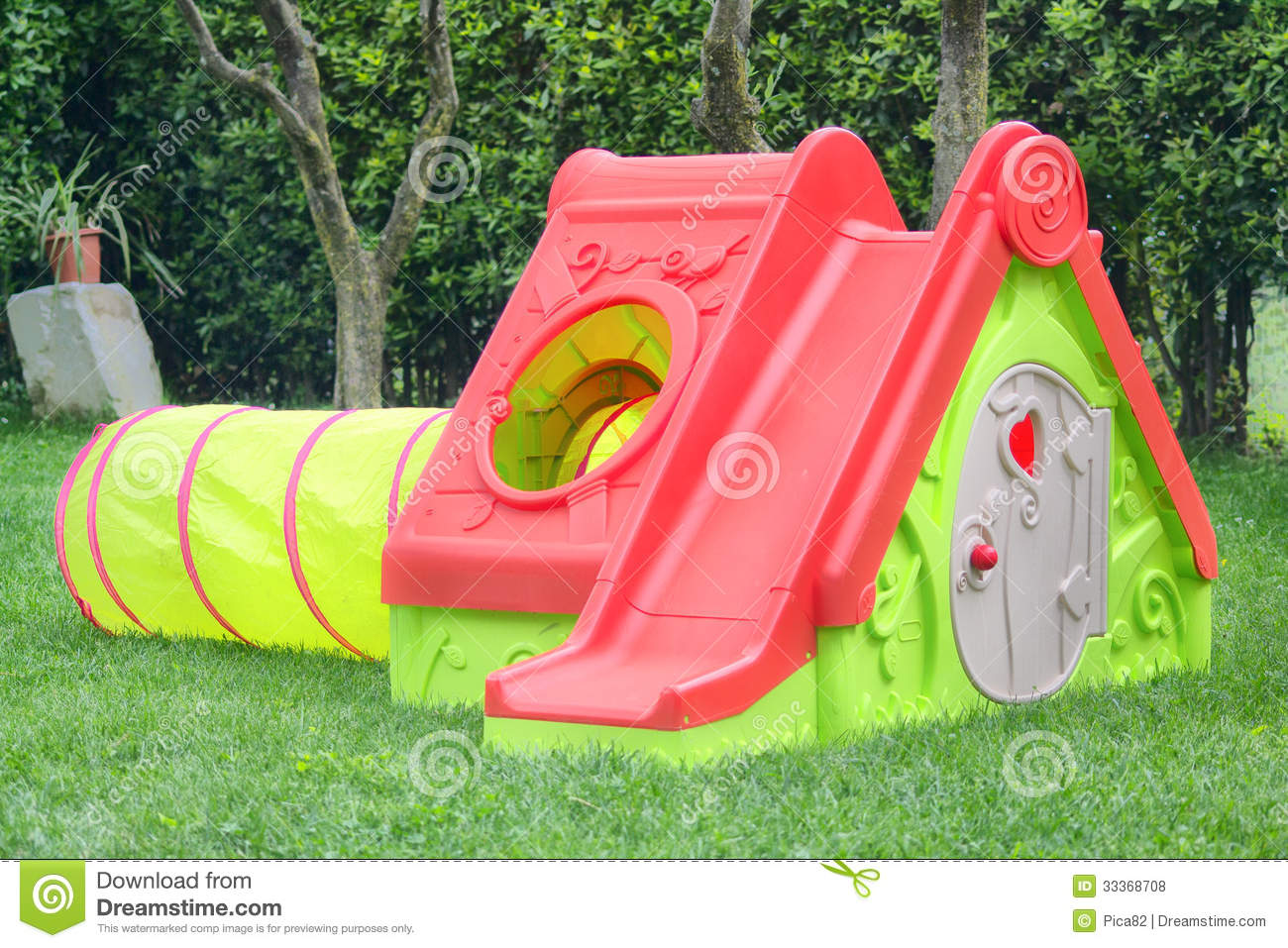 Playhouse with slide royalty free stock photos image for Free playhouse plans with slide