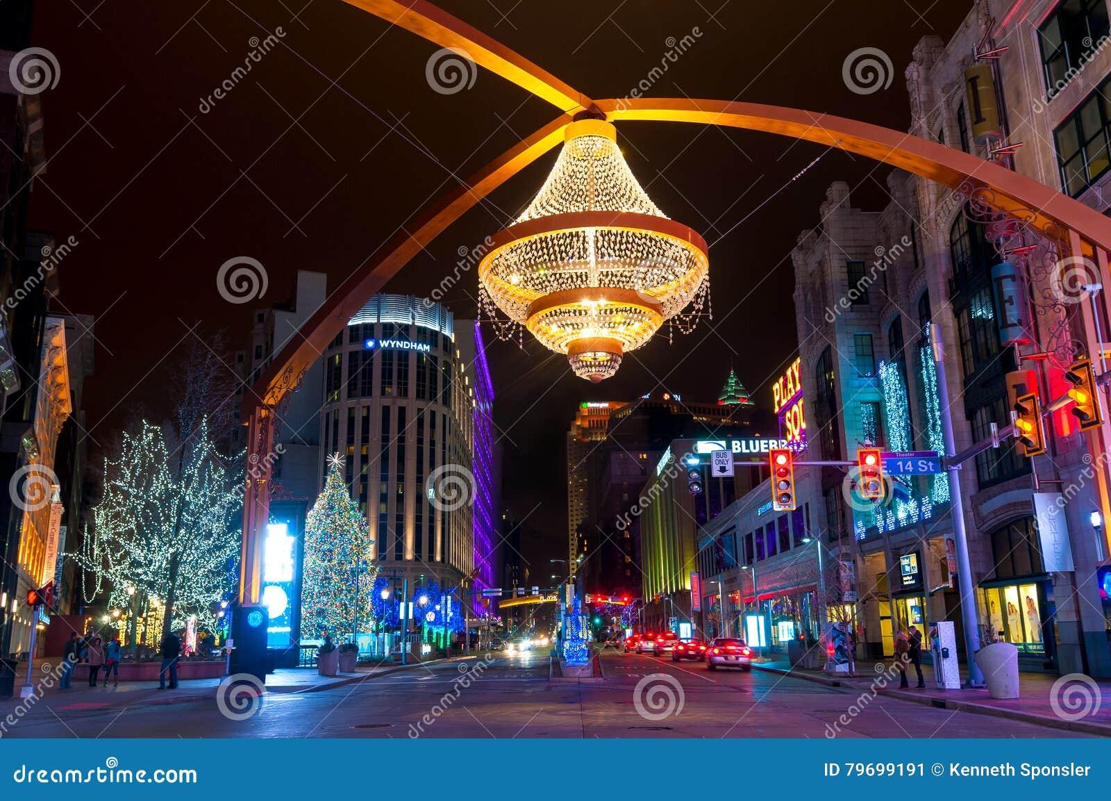 Playhouse Square Christmas editorial photo. Image of building ...
