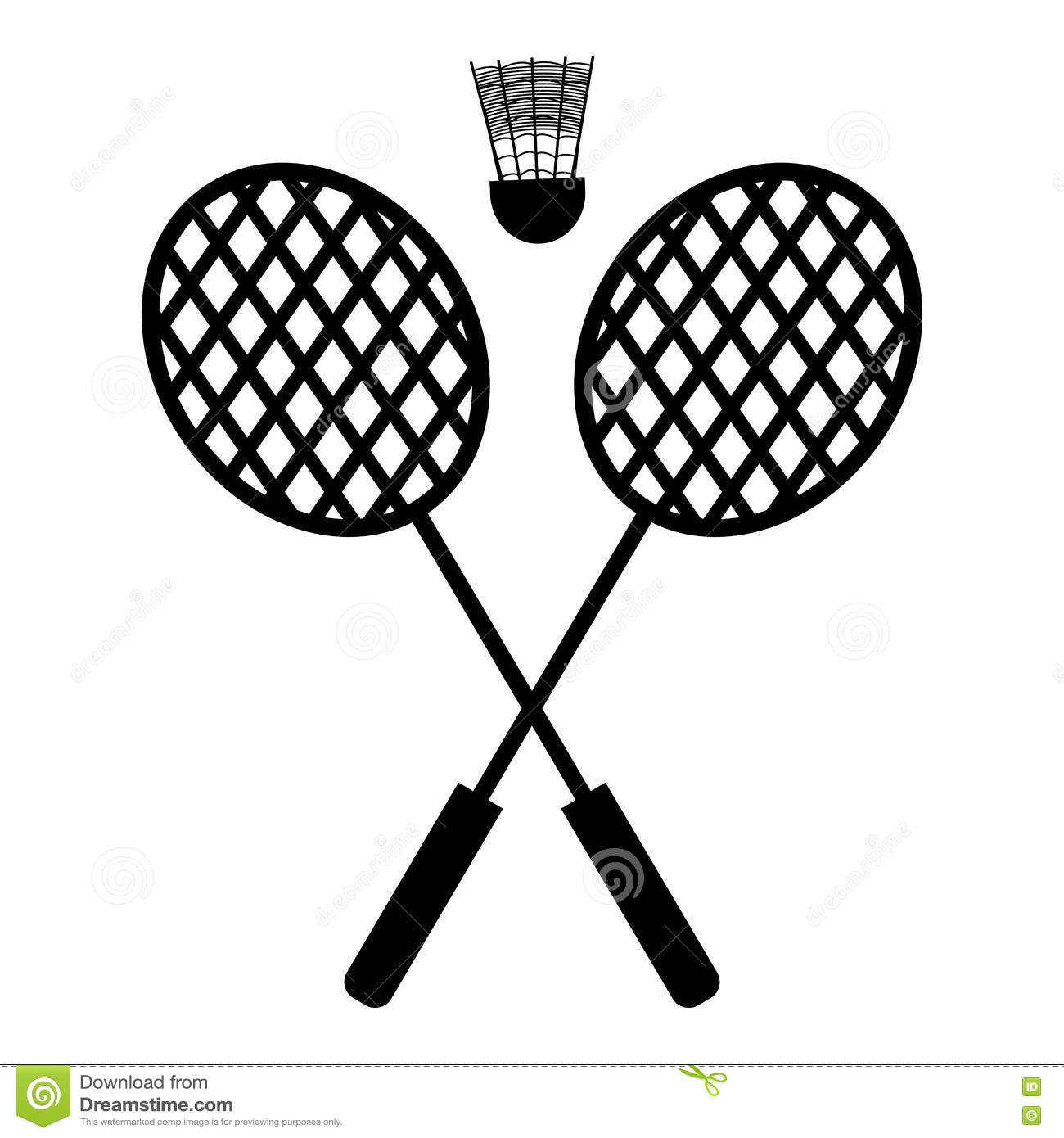 badminton racket and shuttle drawing