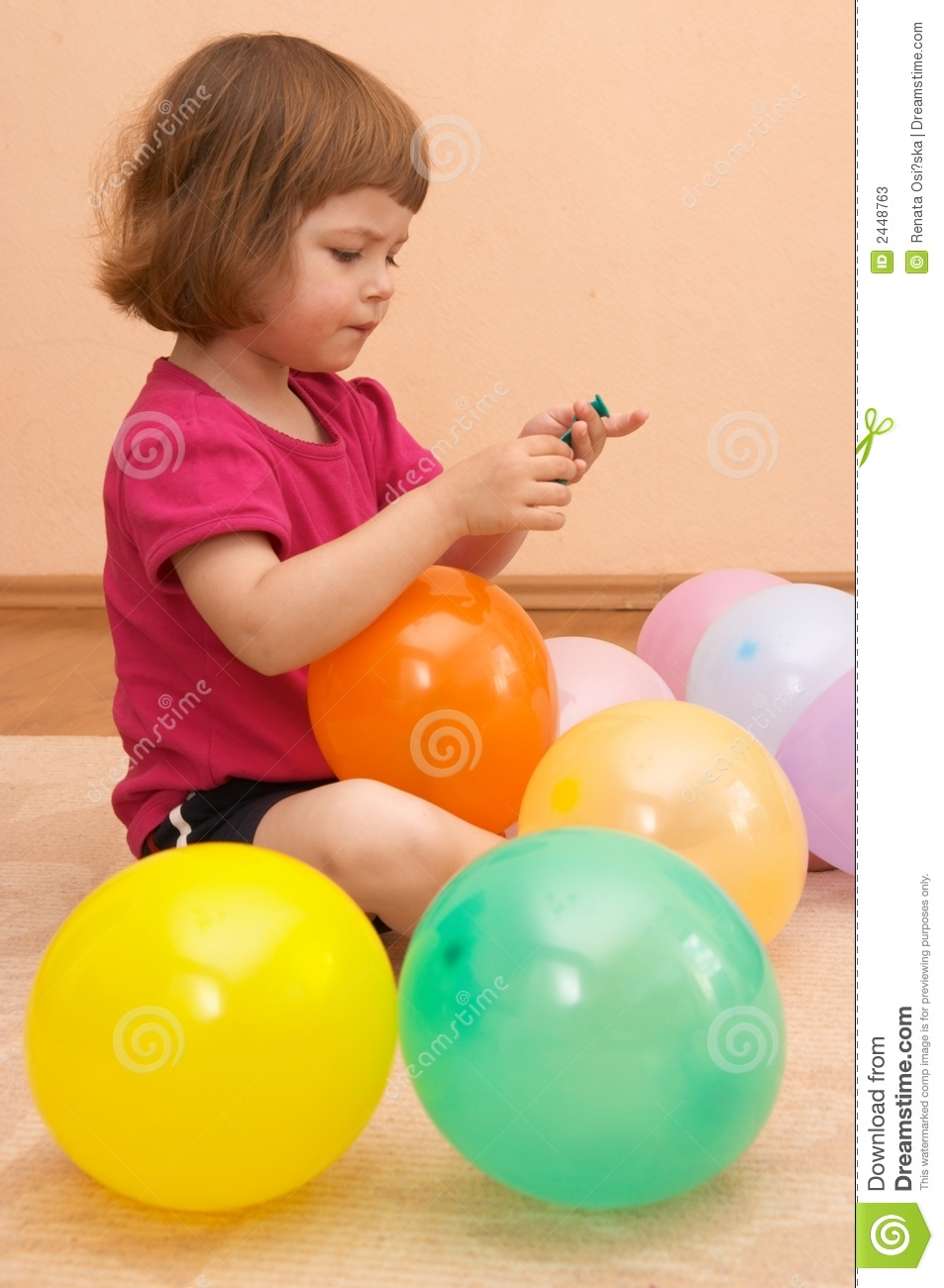 Play With Patterns Prints And Lots Of Accessories For: Playing With Balloons Stock Image. Image Of Girl