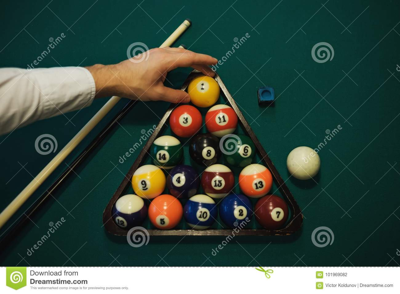 Playing Billiard Billiards Balls And Cue On Green Billiards Table - How to put a pool table together