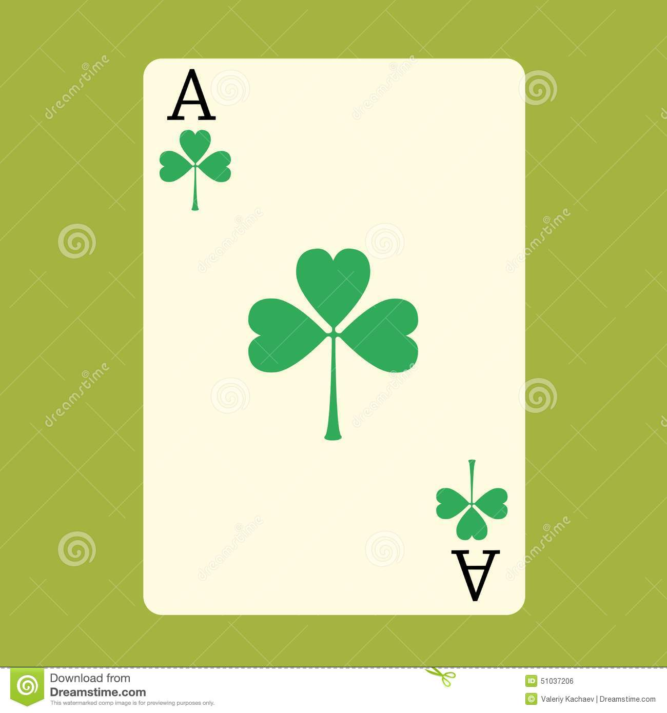playing card ace with a green shamrock patrick day stock vector