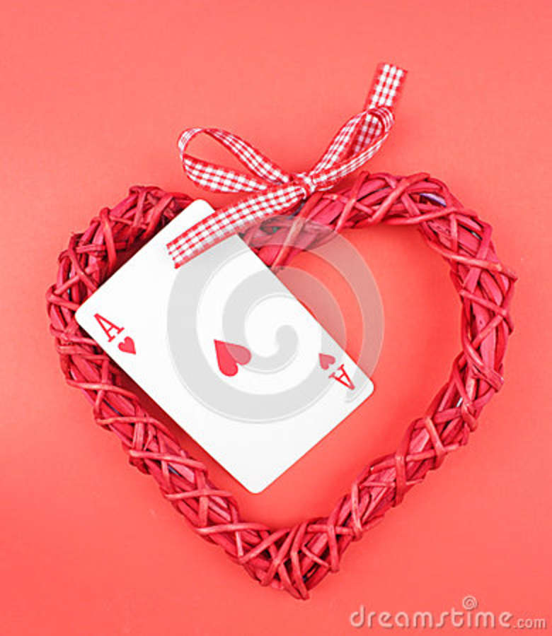 playing card and heart.