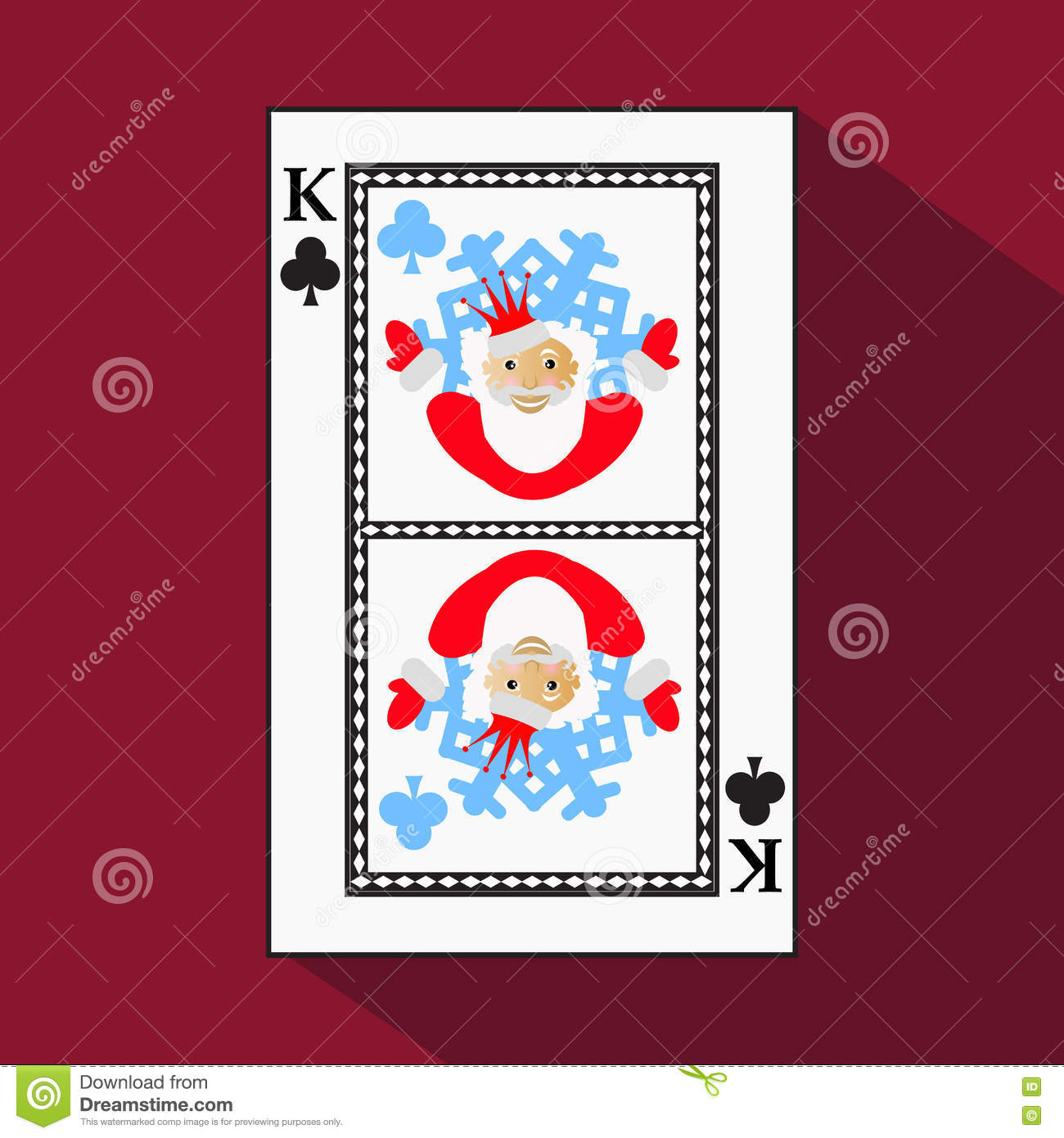 Playing Card. The Icon Picture Is Easy. CLUB KING. NEW YEAR SANTA ...