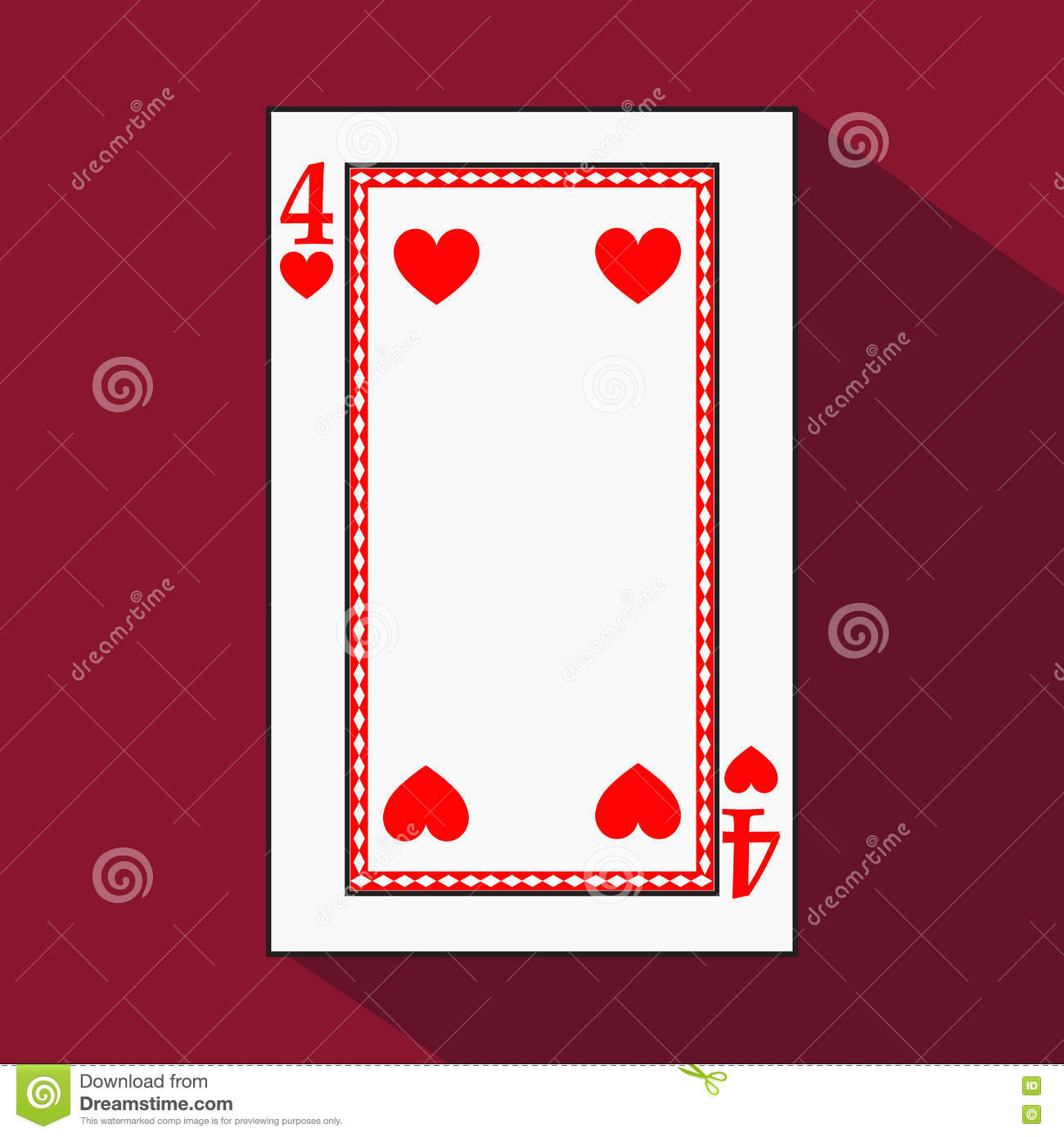 Playing Card The Icon Picture Is Easy Heart Four 4 With White A