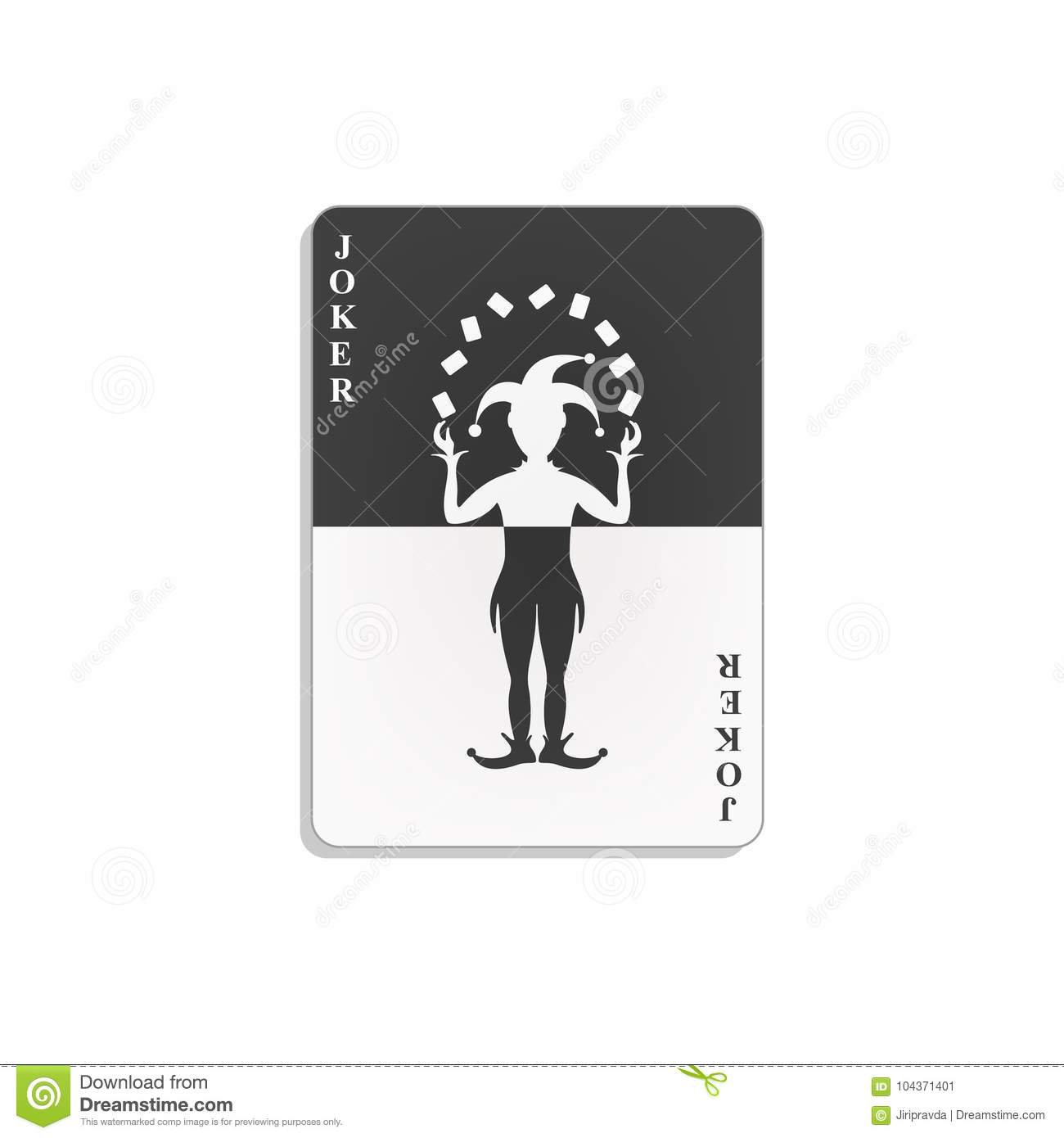 Playing card with joker in black and white design