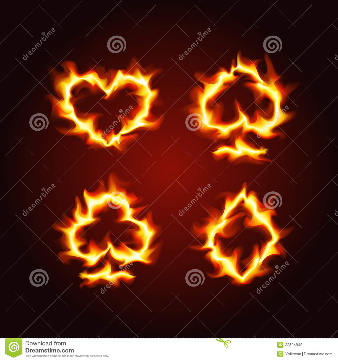Playing Card Suits On Fire Royalty Free Stock Photos