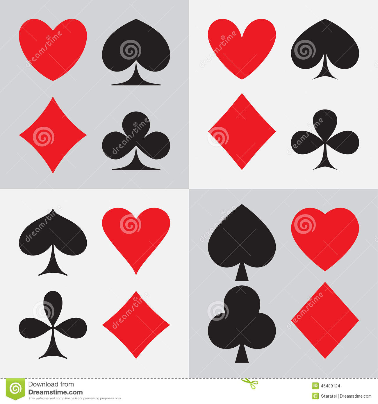 Playing Card Suits Four Different Types Of Design Stock