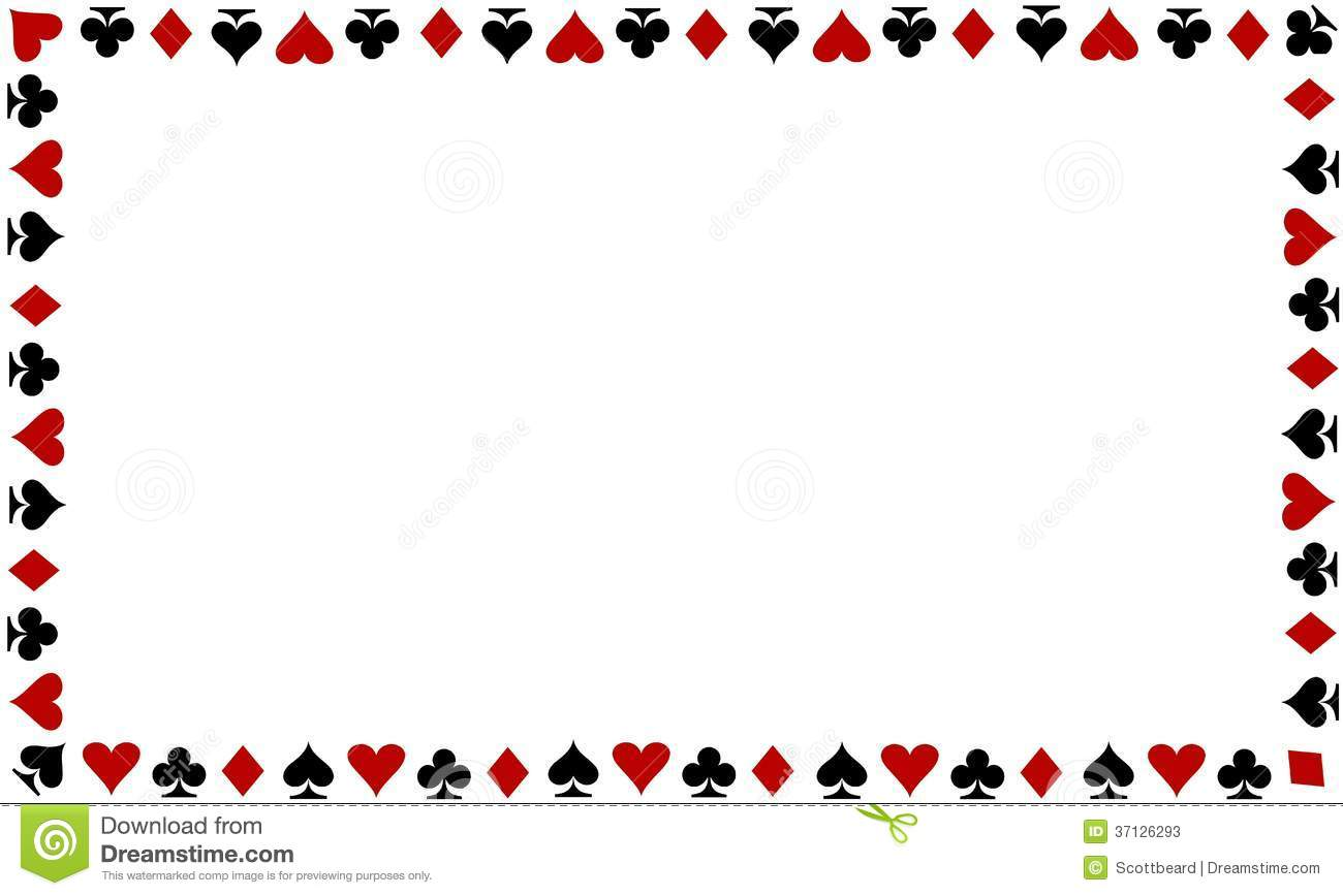 Playing Cards Border On White Background Stock Image
