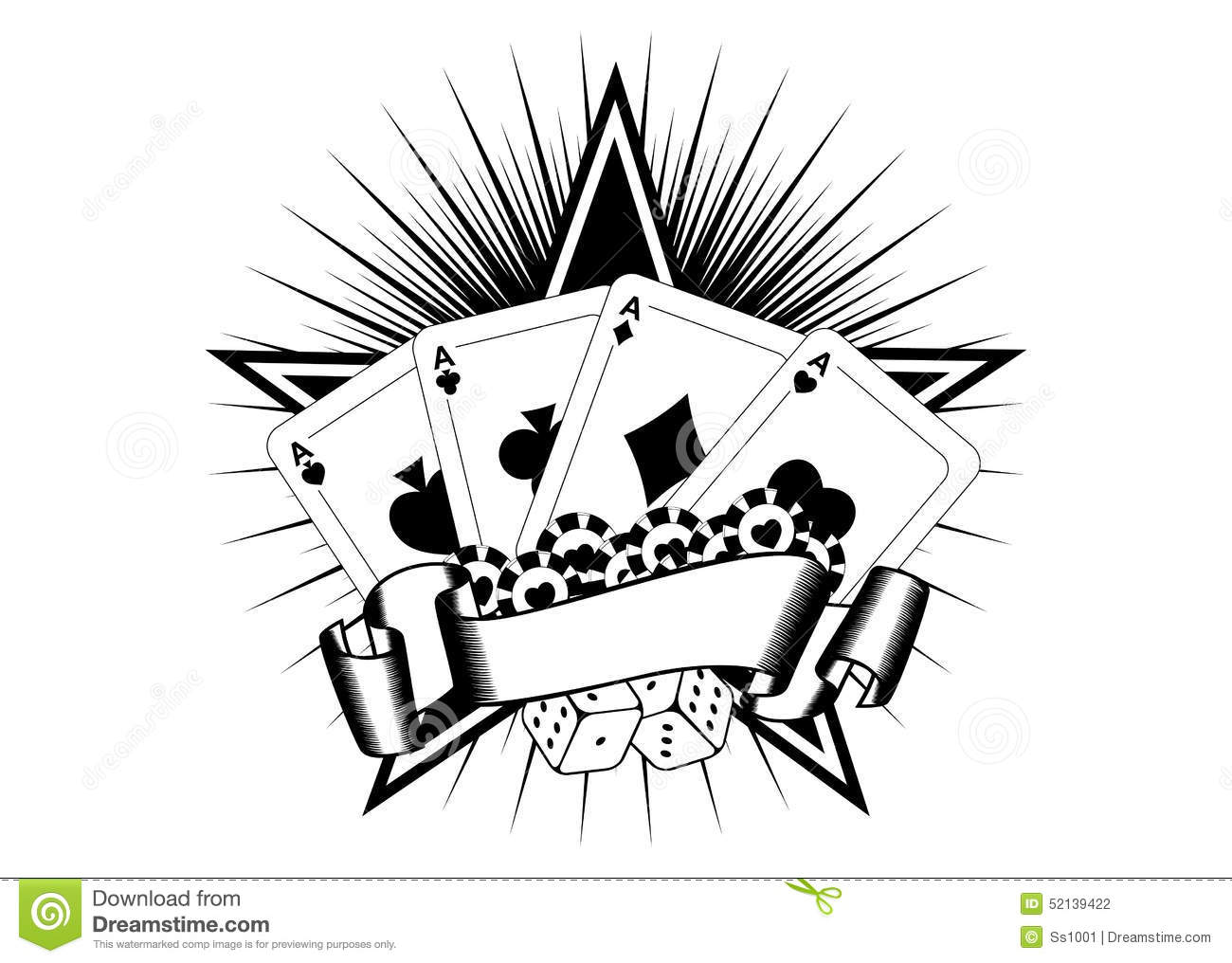 playing cards dice chips stock vector illustration of tattoo 52139422. Black Bedroom Furniture Sets. Home Design Ideas