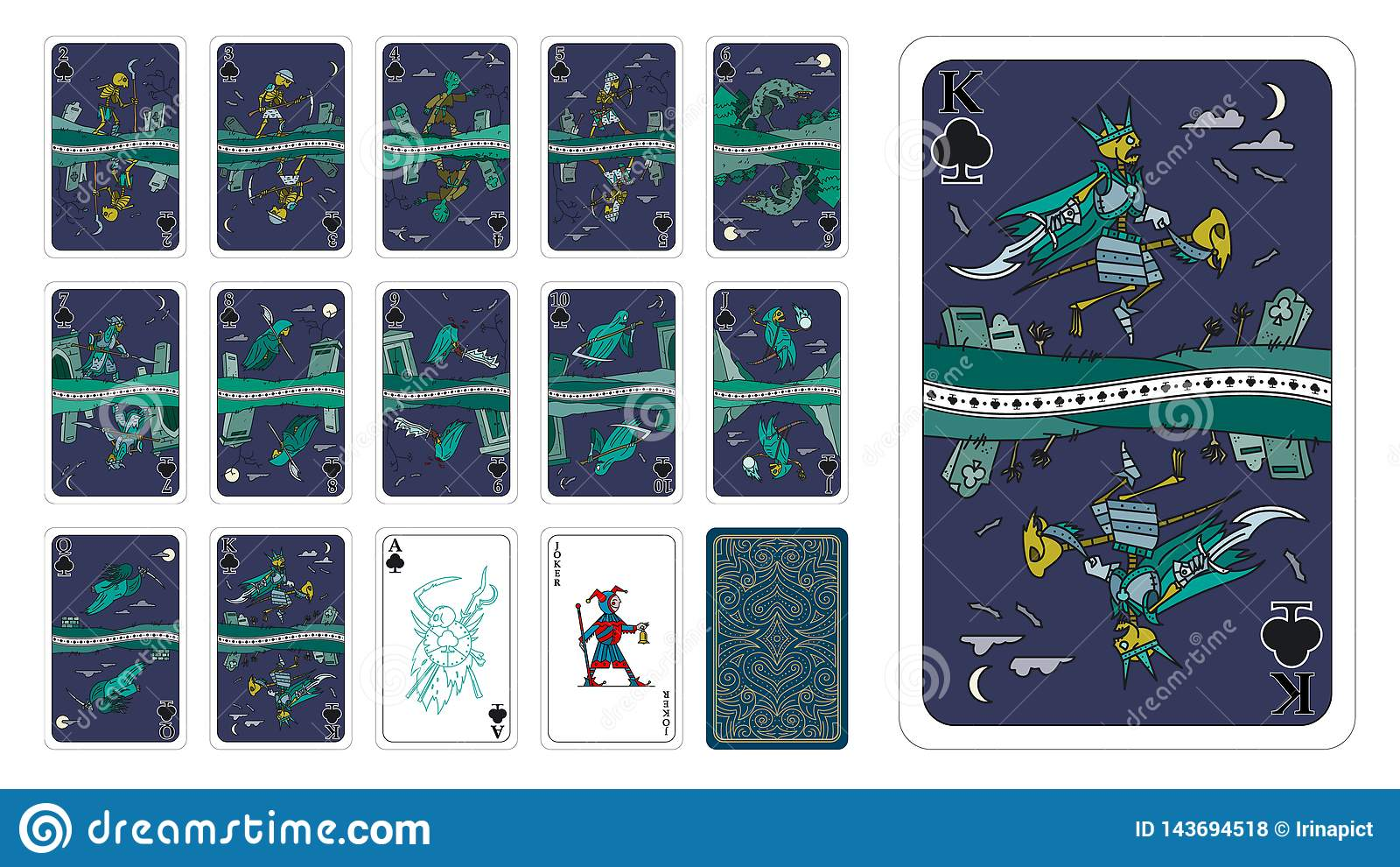 Playing cards in fantasy style Clubs as Undead cartoon