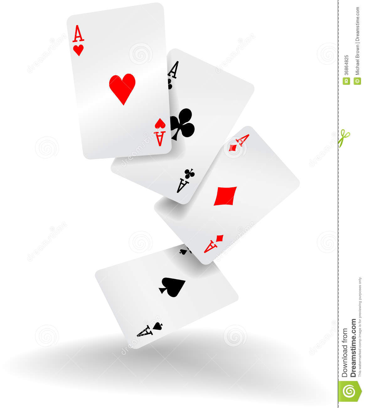 Playing Cards Four Aces Poker Hand Stock Vector Illustration Of Play Diamond 36864825
