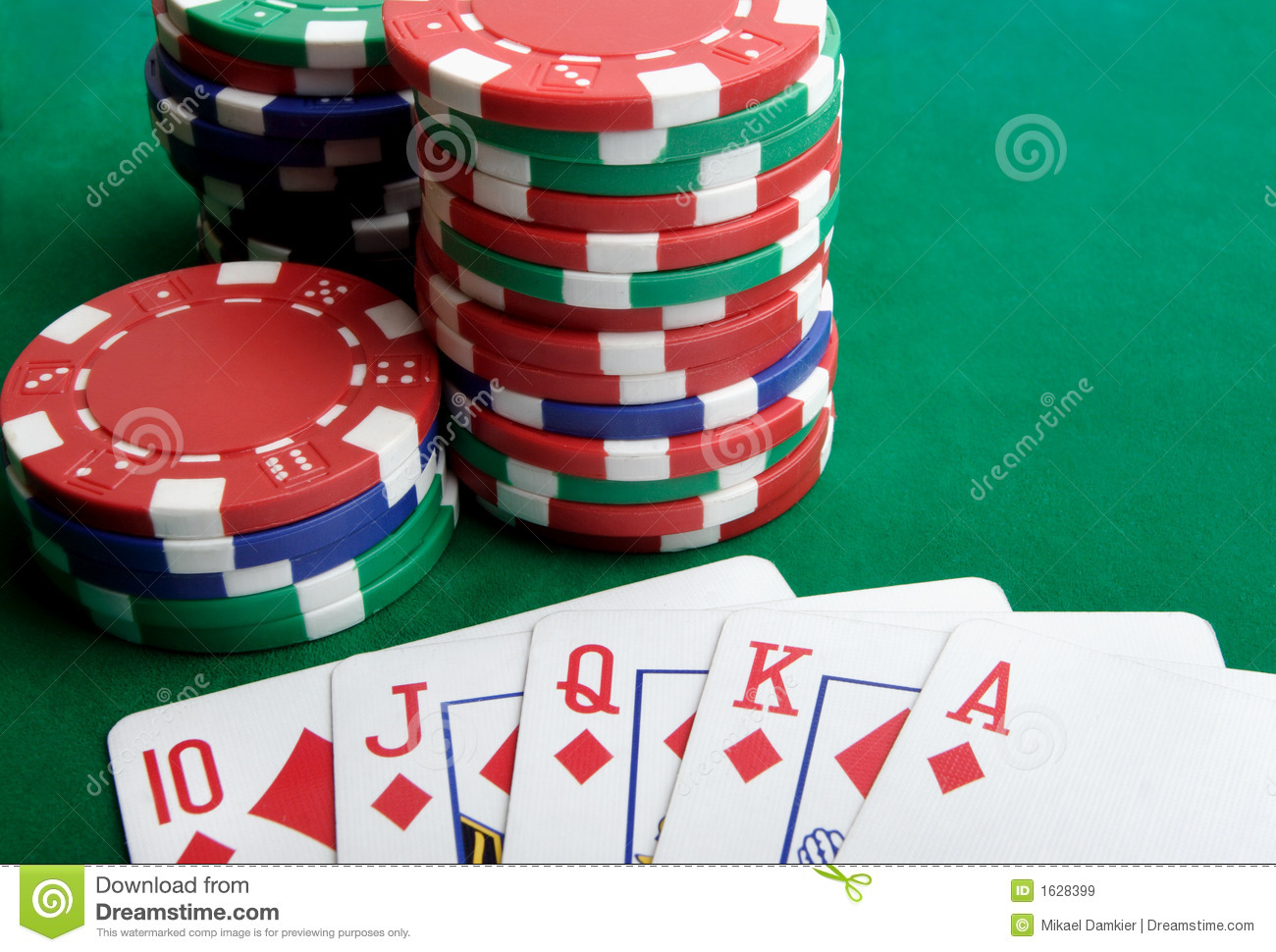 playing cards and gambling chips stock image
