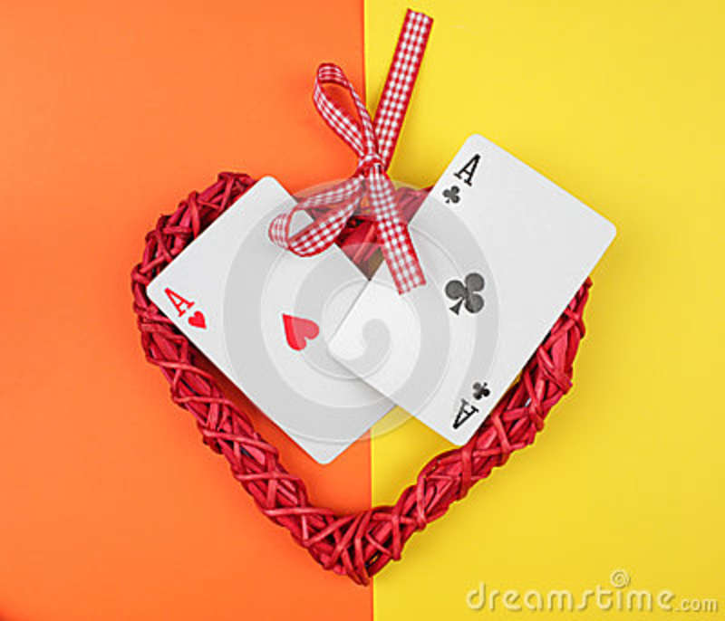 Playing cards and heart.