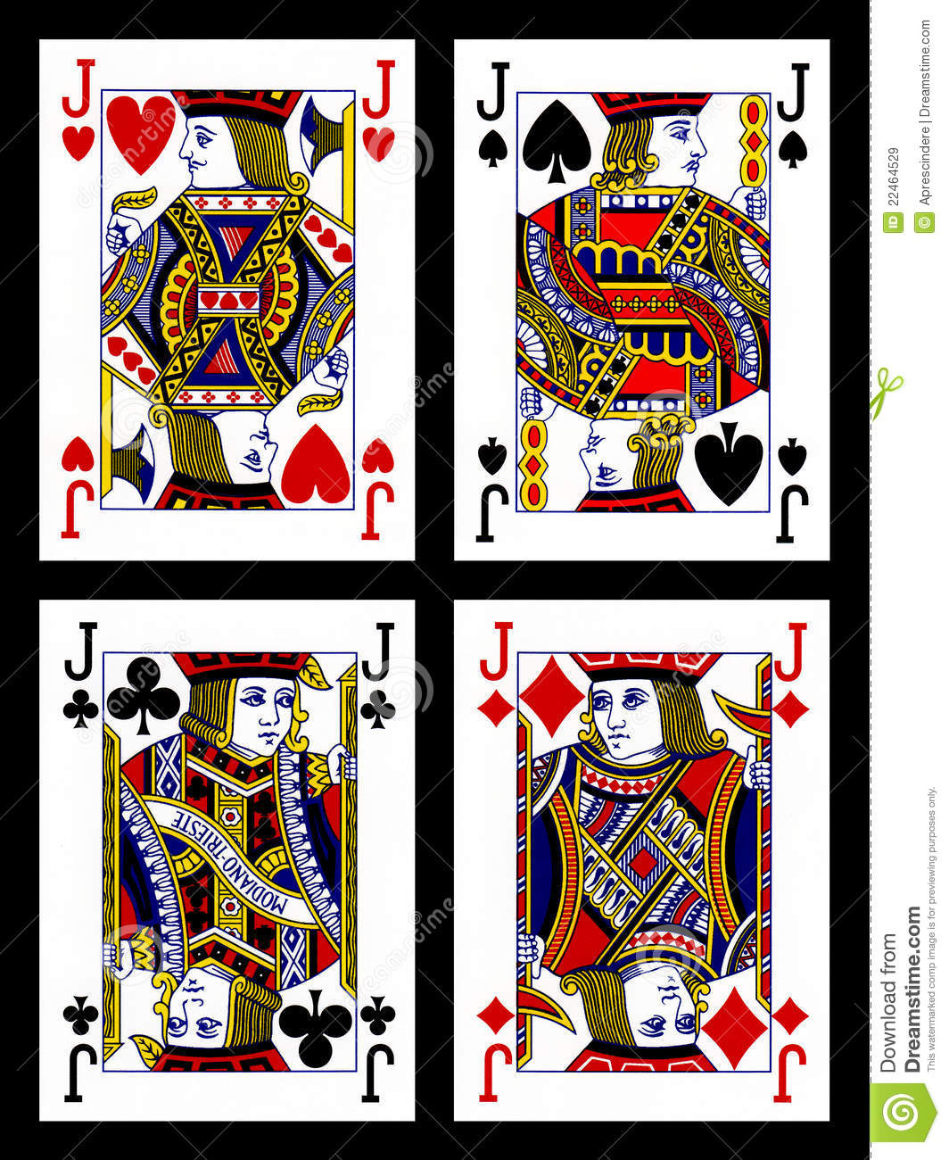Four colored jacks cards (hearts, diamonds, clubs and spades) on black ...