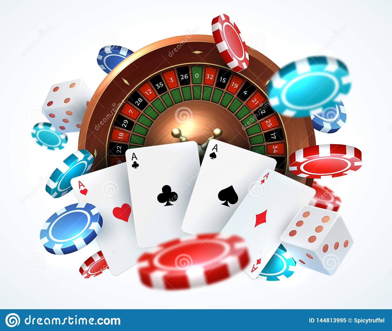Playing Cards Poker Chips Falling Dice Online Casino Gambling Realistic 3d Gaming Concept With Vector Lucky Roulette Stock Vector Illustration Of Background Leisure 144813995