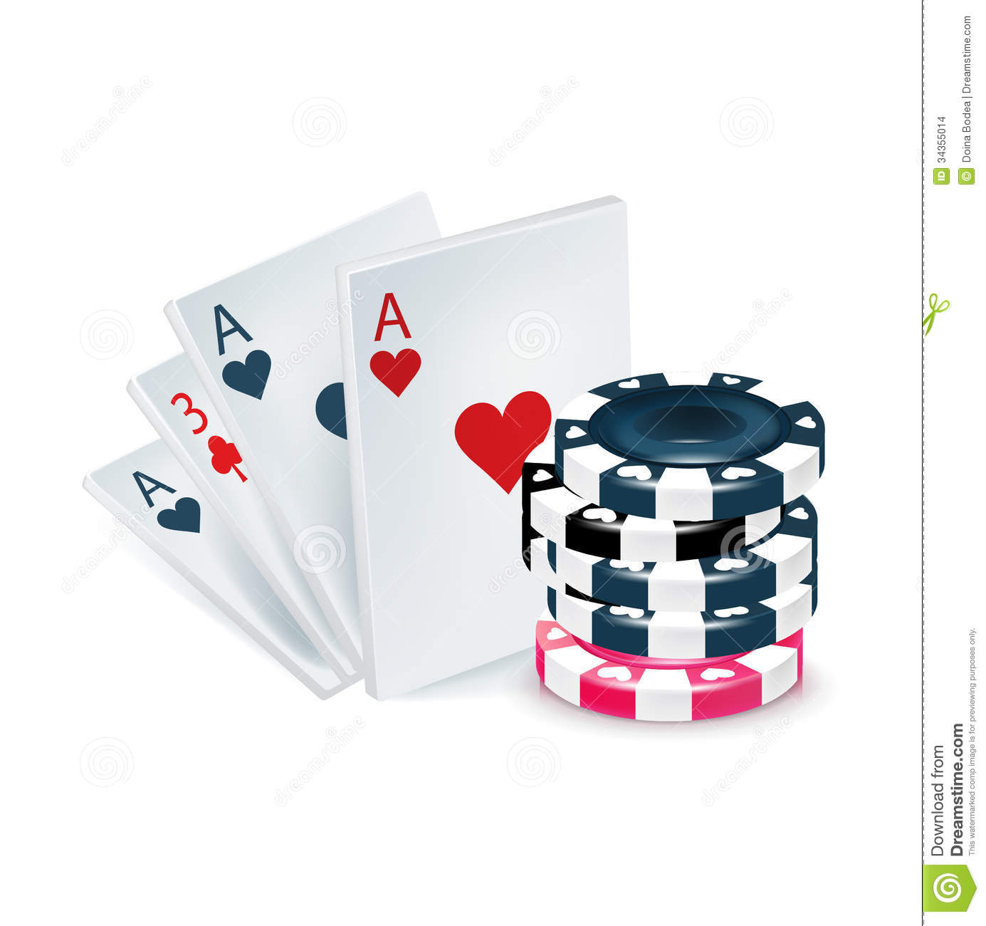 Playing Cards With Poker Chips Isolated Stock Illustration
