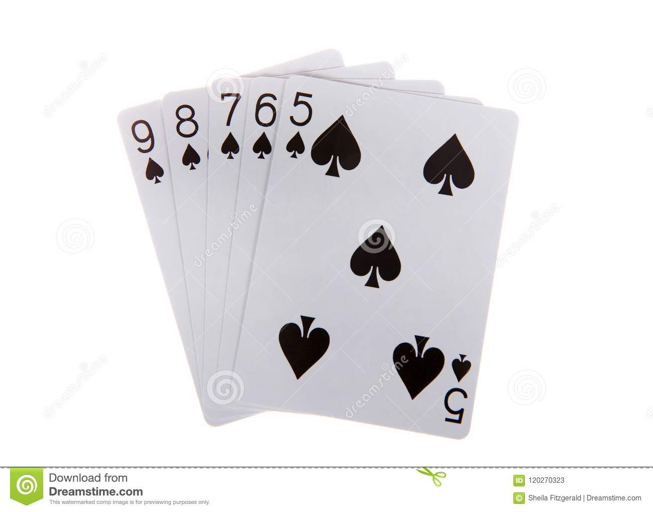 Playing Cards Straight Flush Isolated On White Background Stock
