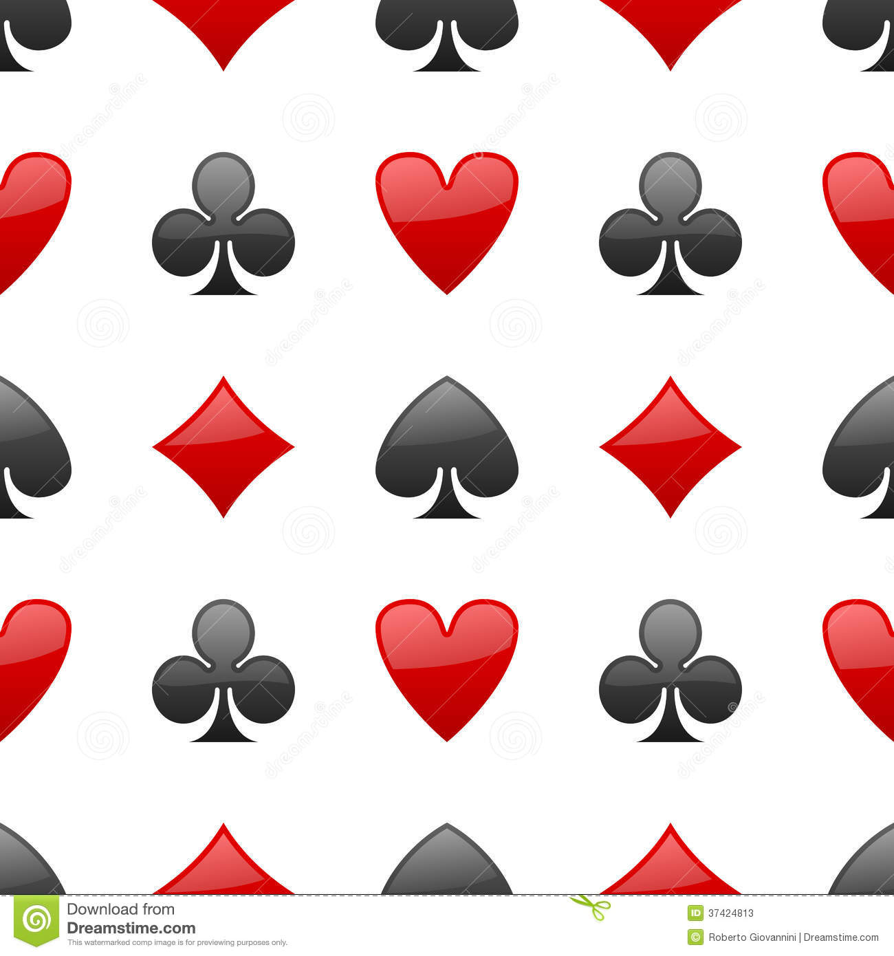 Playing Cards Suits Seamless Pattern Stock Photos Image