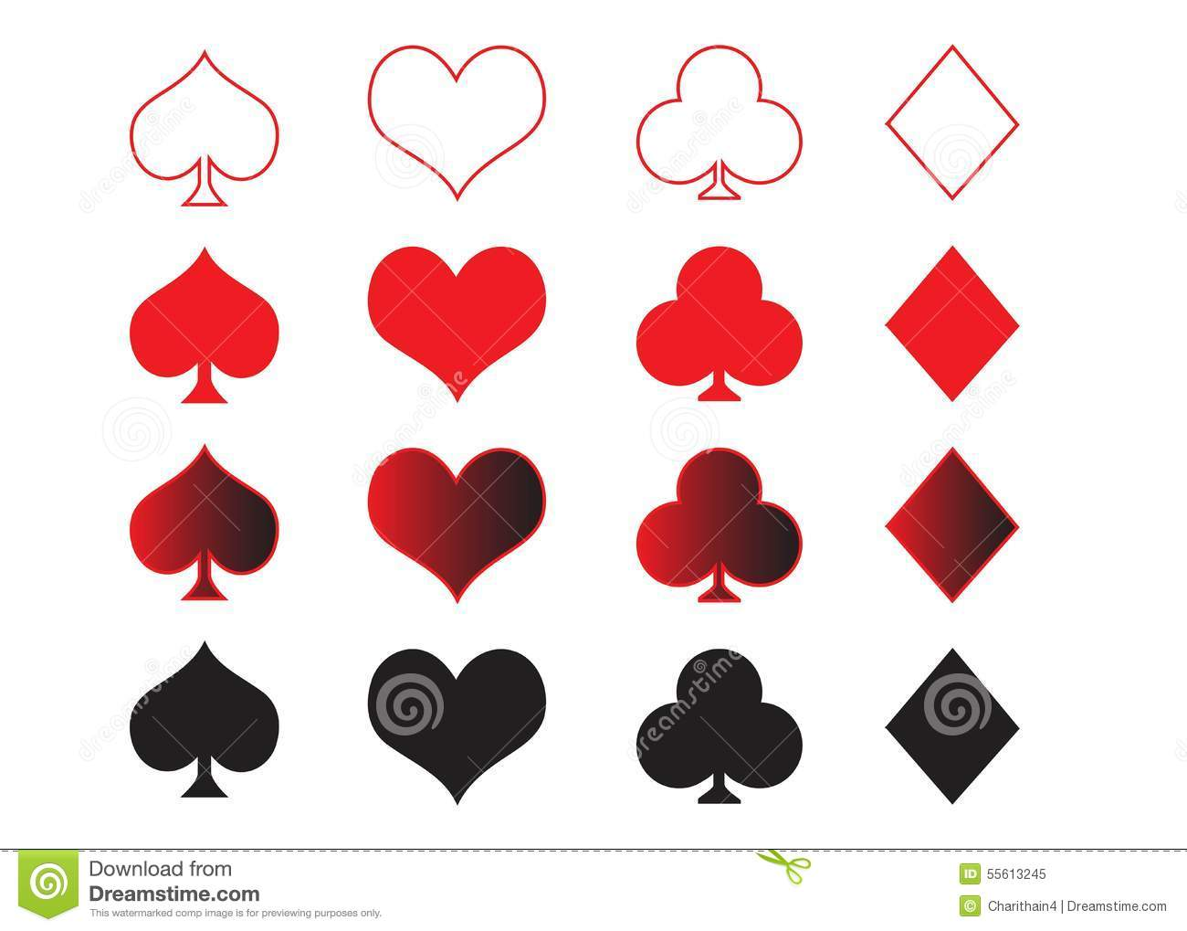Playing Cards Symbols Stock Vector - Image: 55613245