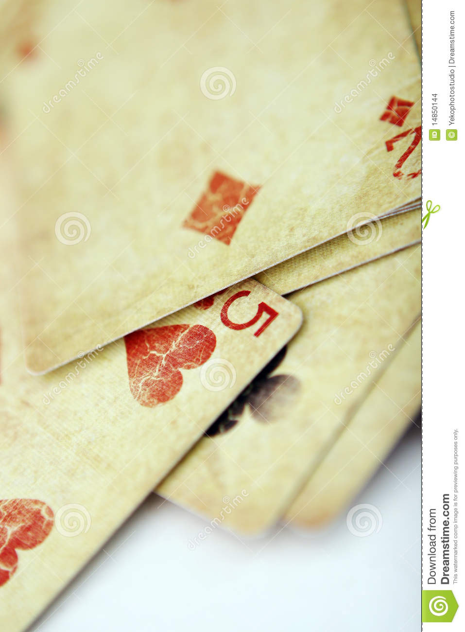 Playing cards in the white table
