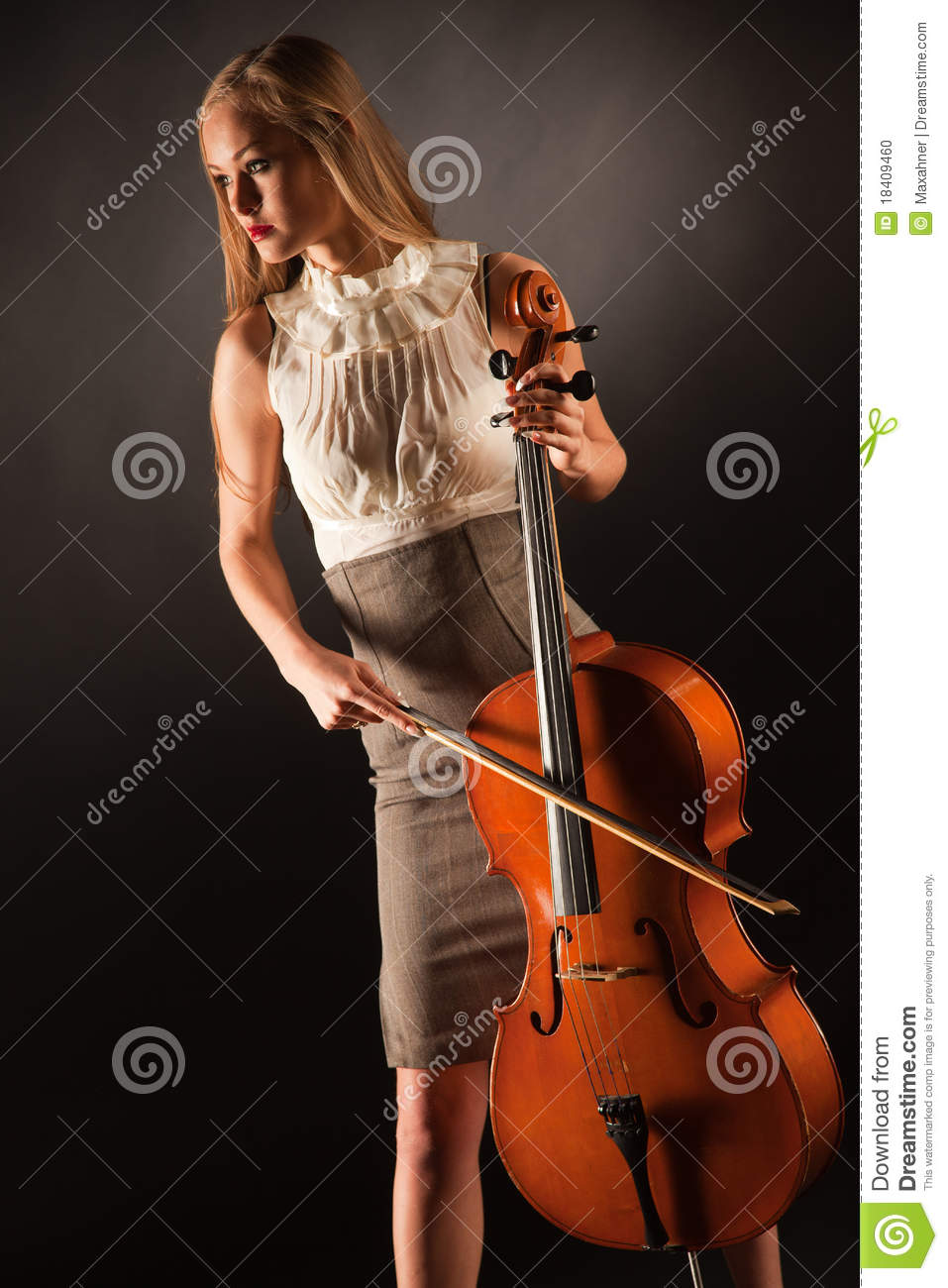 Playing On Cello Girl Stock Photo - Image: 18409460