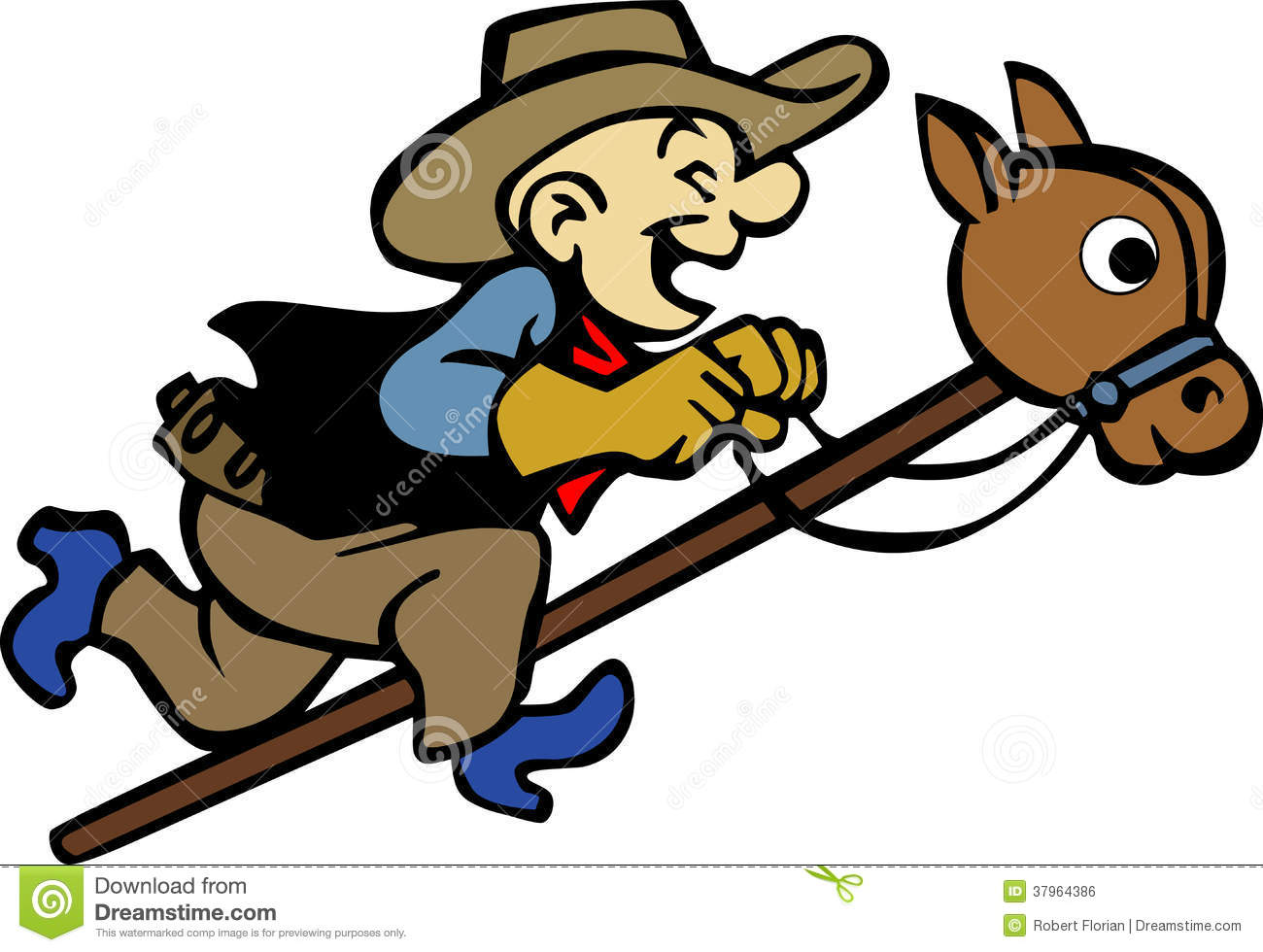 Playing Cowboy Illustration Royalty Free Stock Image - Image: 37964386