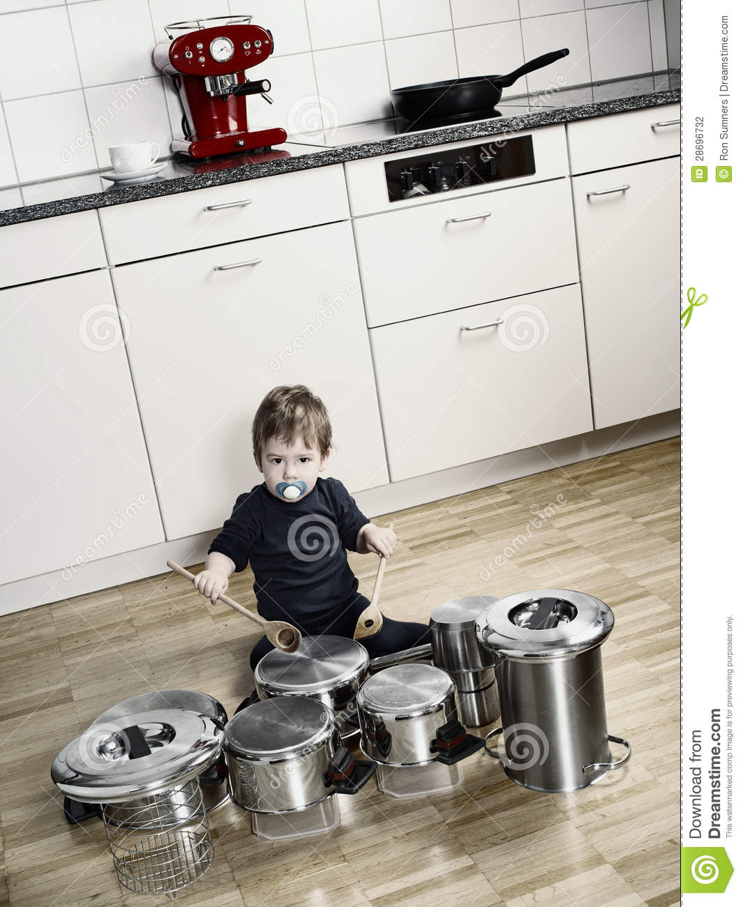 Playing Drums With Pots And Pans Stock Photography Image