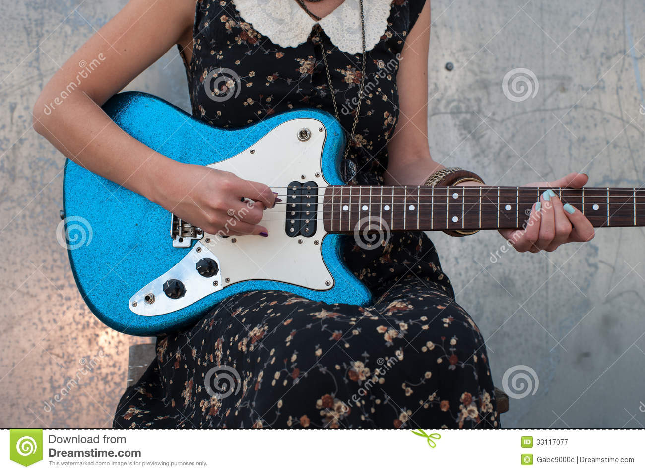 playing electric guitar stock image image of cute vintage 33117077. Black Bedroom Furniture Sets. Home Design Ideas