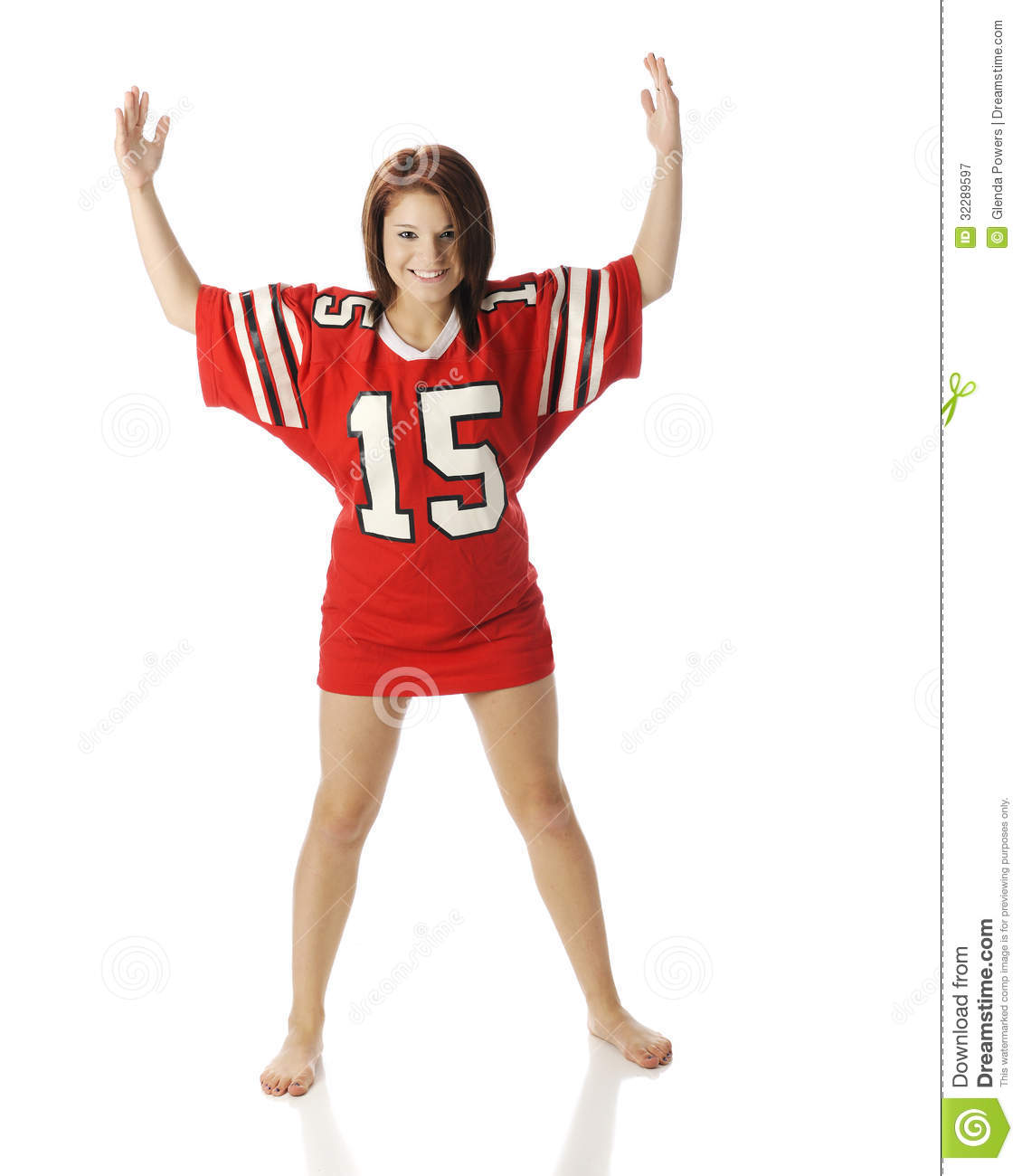 beautiful, barefoot teen girl in an oversized jersey with her hands ...: dreamstime.com/royalty-free-stock-photography-playing-goal-post...