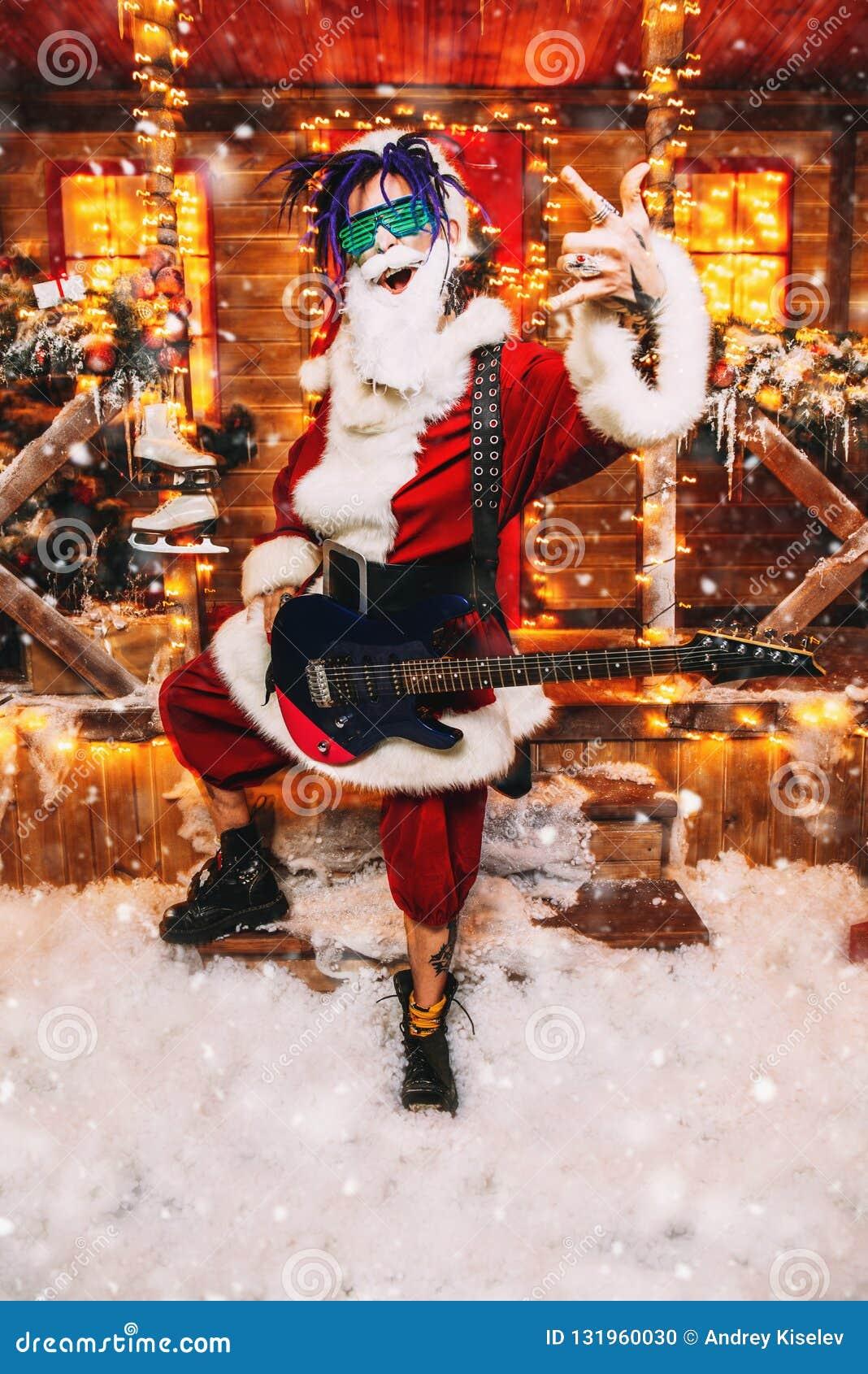 Playing the guitar for christmas