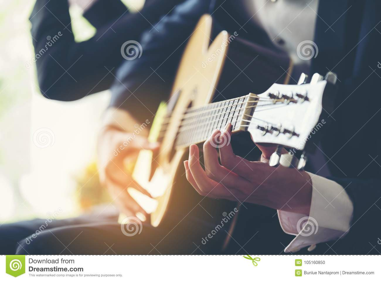 Playing guitar and concert concept.Live music background.Music f