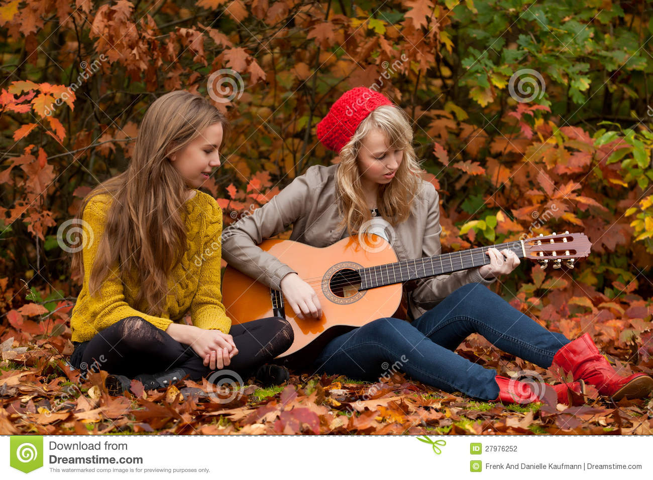 Playing guitar in the woods