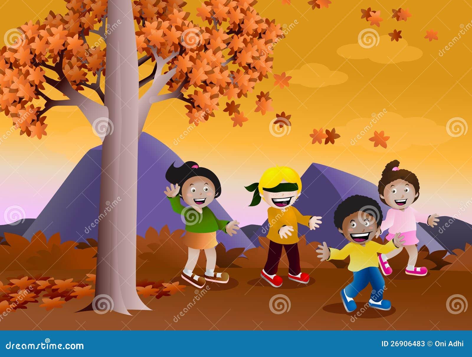 Hide Seek Kids: Playing Hide And Seek Game In Autumn Stock Photos