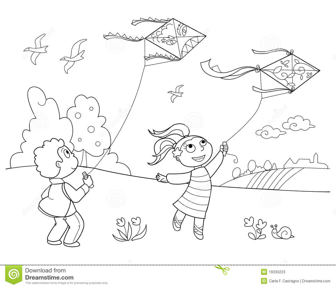 playing with kites stock vector. illustration of children - 19330223