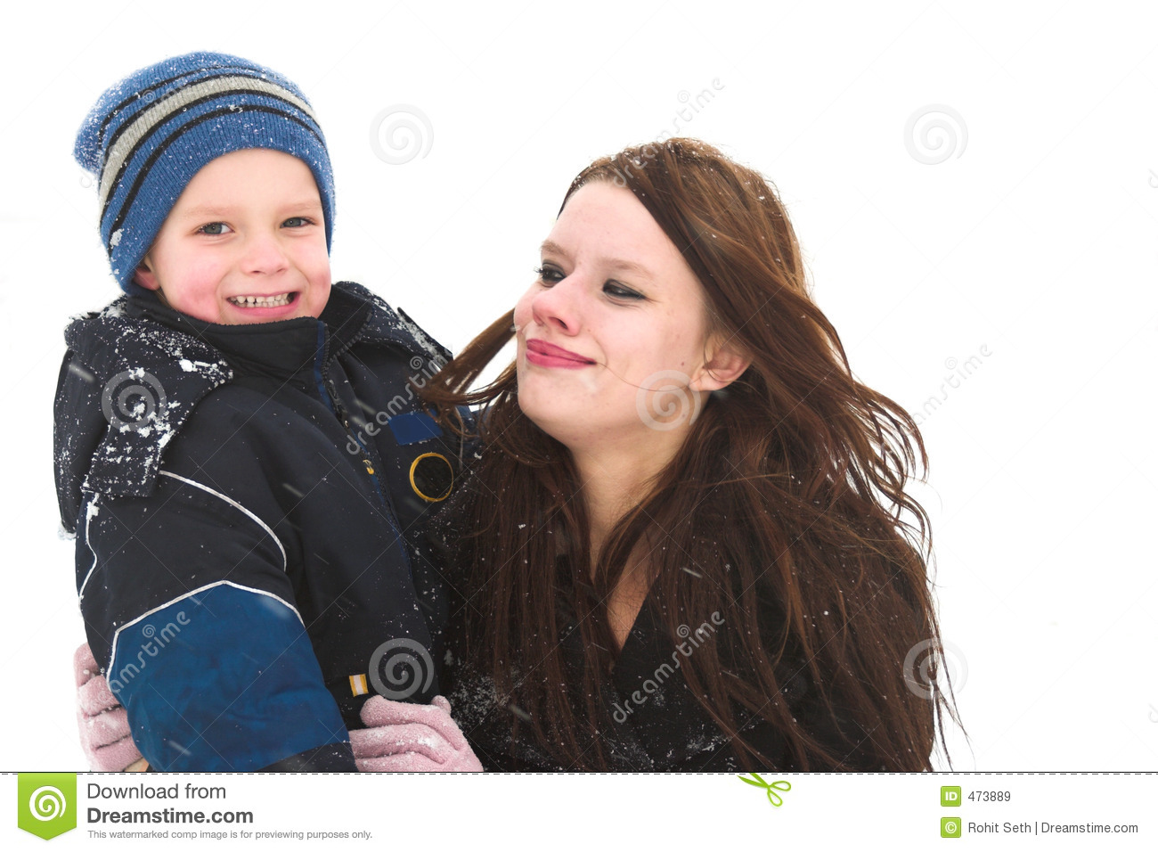 Download Playing With Mom In The Snow Stock Image - Image of bonding, embrace: 473889