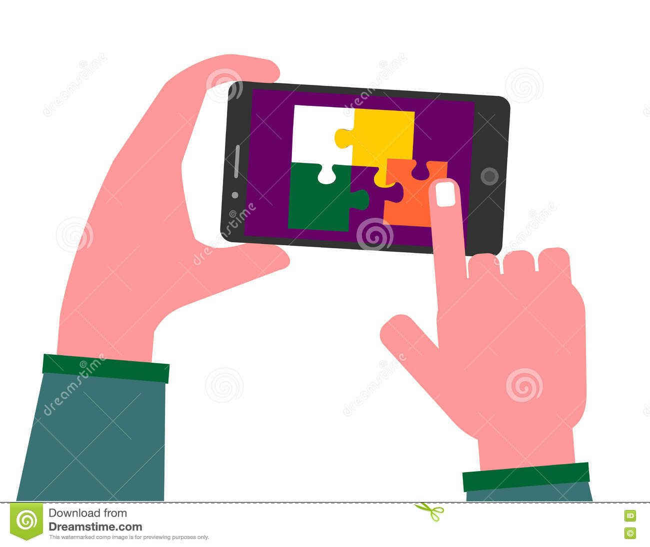 Playing Puzzle On Mobile Phone Stock Vector - Illustration