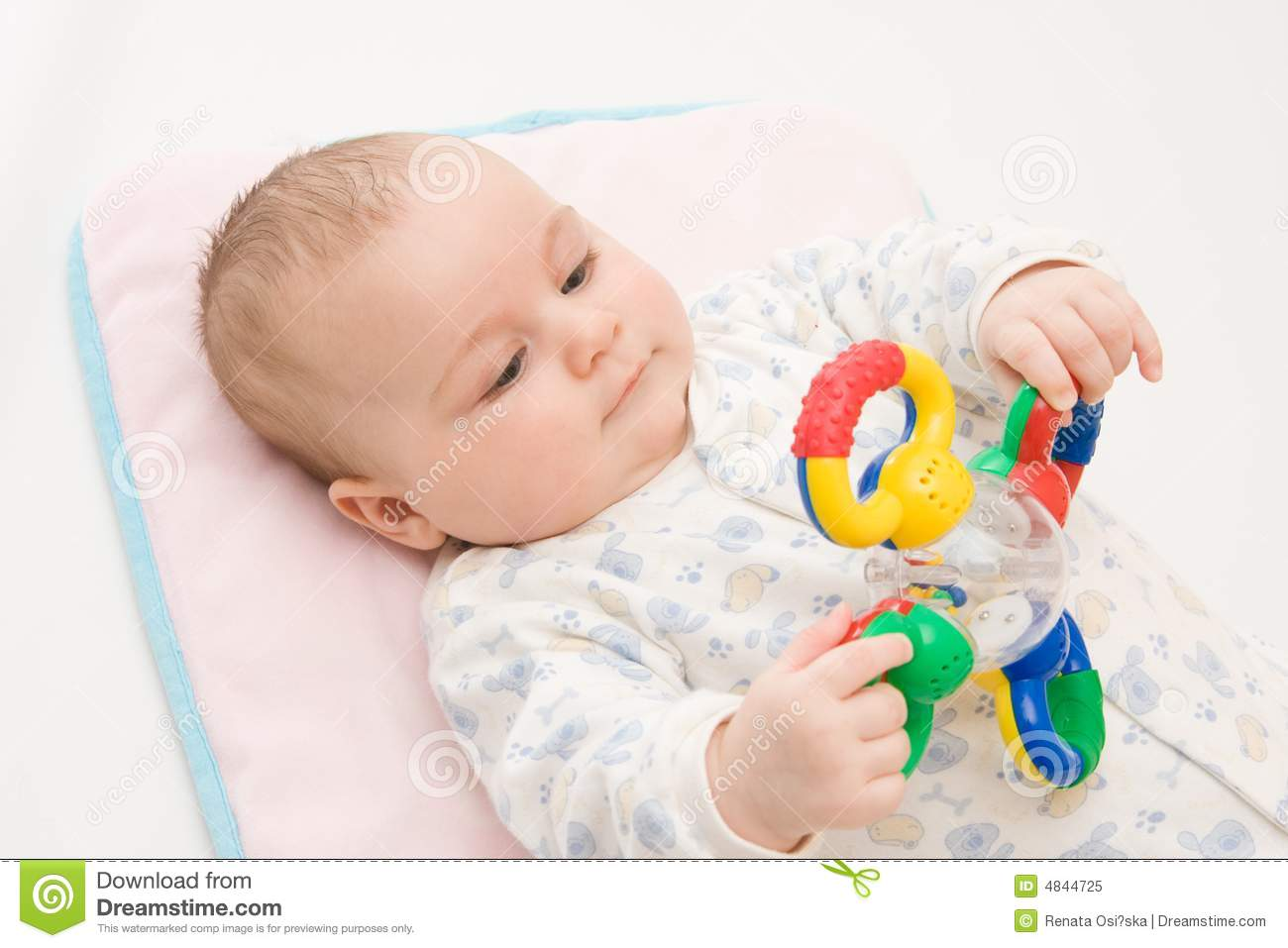Playing With Rattle Royalty Free Stock Photo Image 4844725