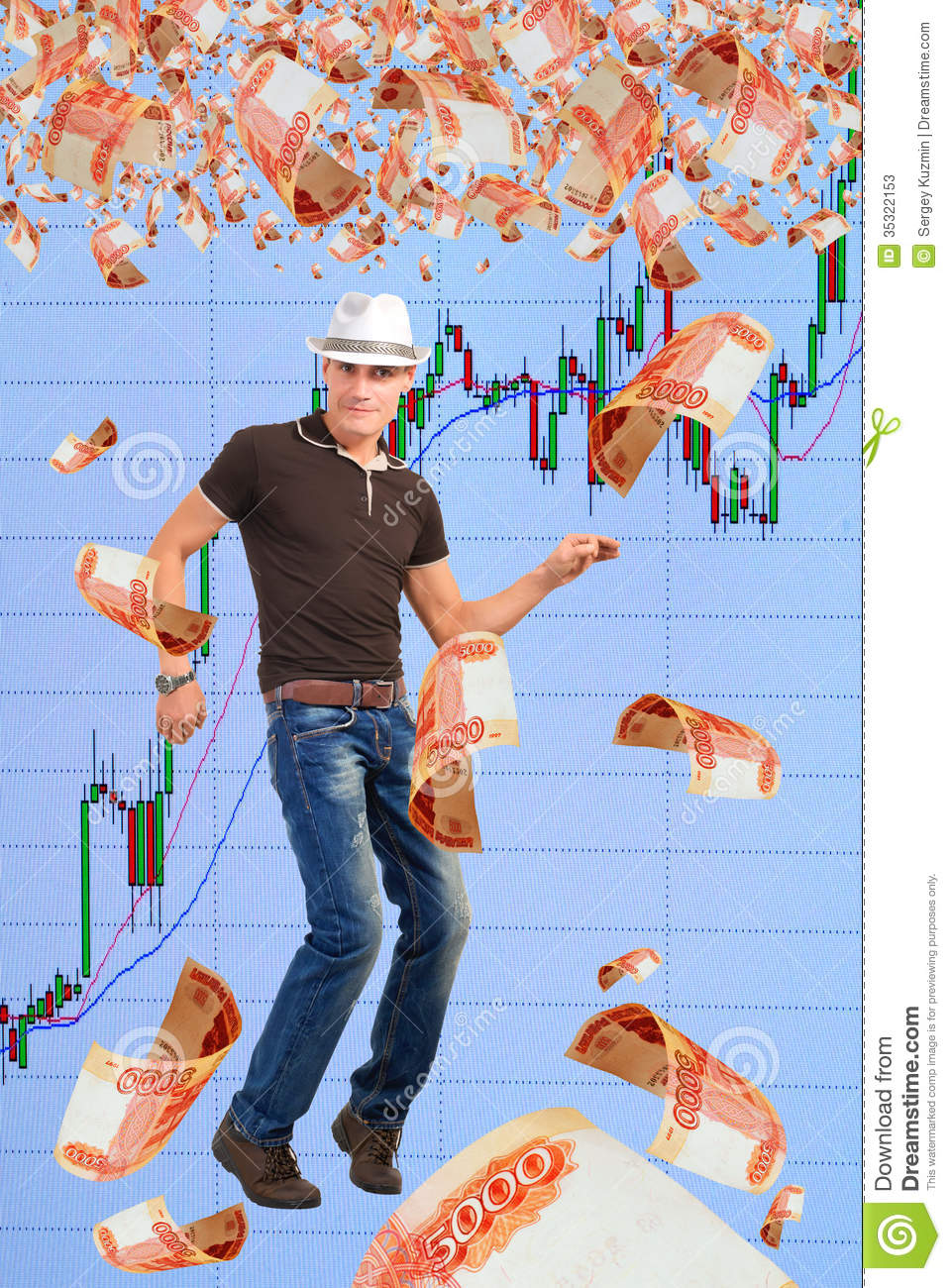 Playing On The Rise In The Stock Market. Stock Photos