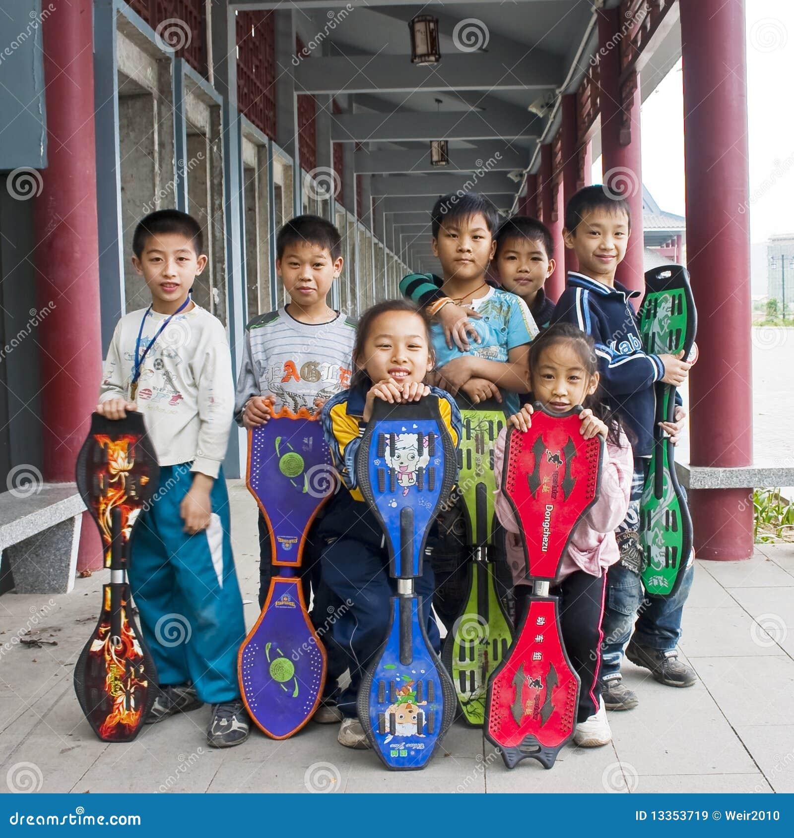 Playing skateboard children